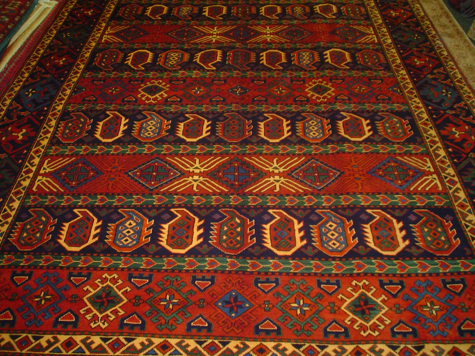 7 x 10 Gorgeous Afghan rug with geometric boteh design. Multicolored tribal rug woven with lustrous wool.