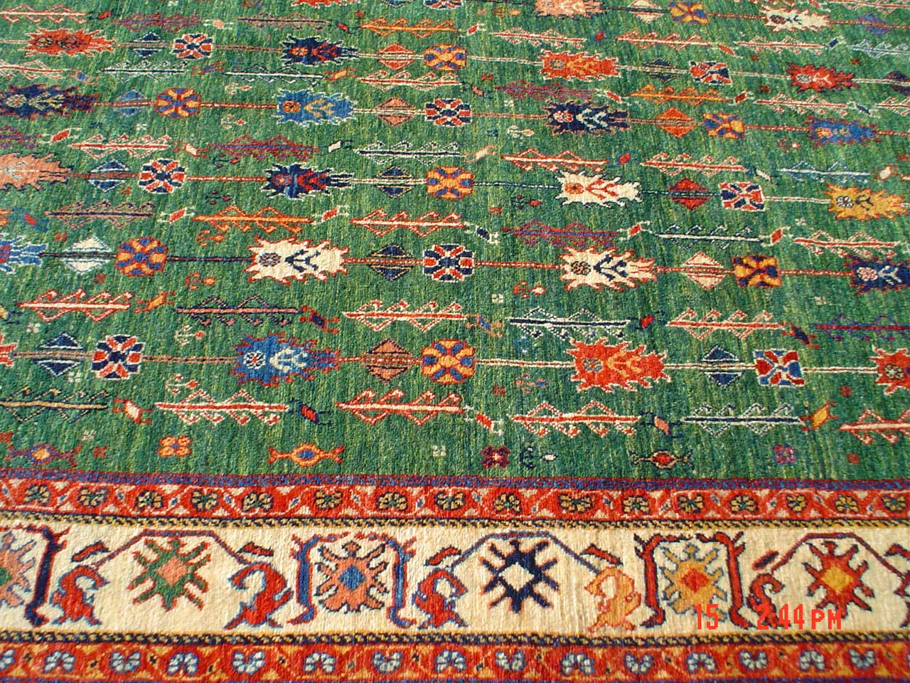 5 x 7 Luscious green tribal rug from Iran.  Sold.