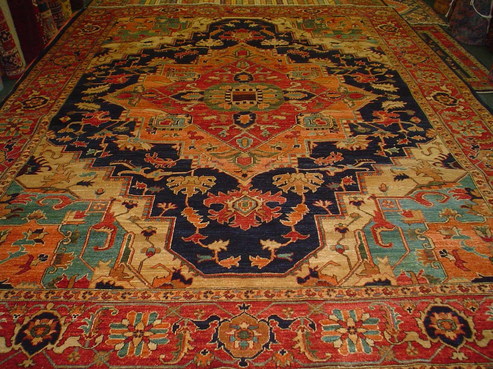 9 x 12 vegetable dyed Heriz rug. Fair trade. Sold.