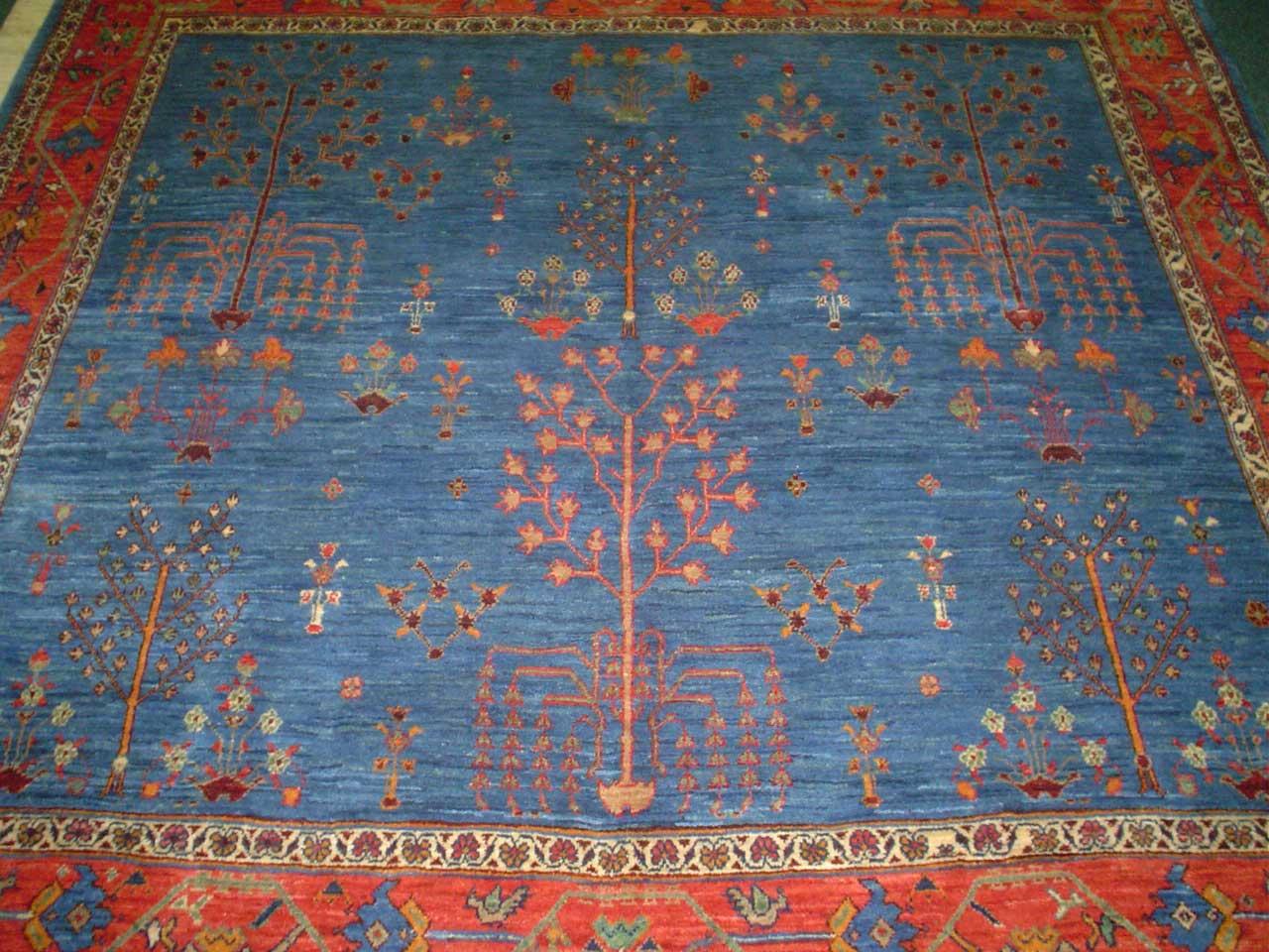 "Gorgeous light blue Tree of Life tribal rug from Iran. 6' 7"" x 6' 5"" Khamseh or Khamsehbaf (baf means ""woven by"")"