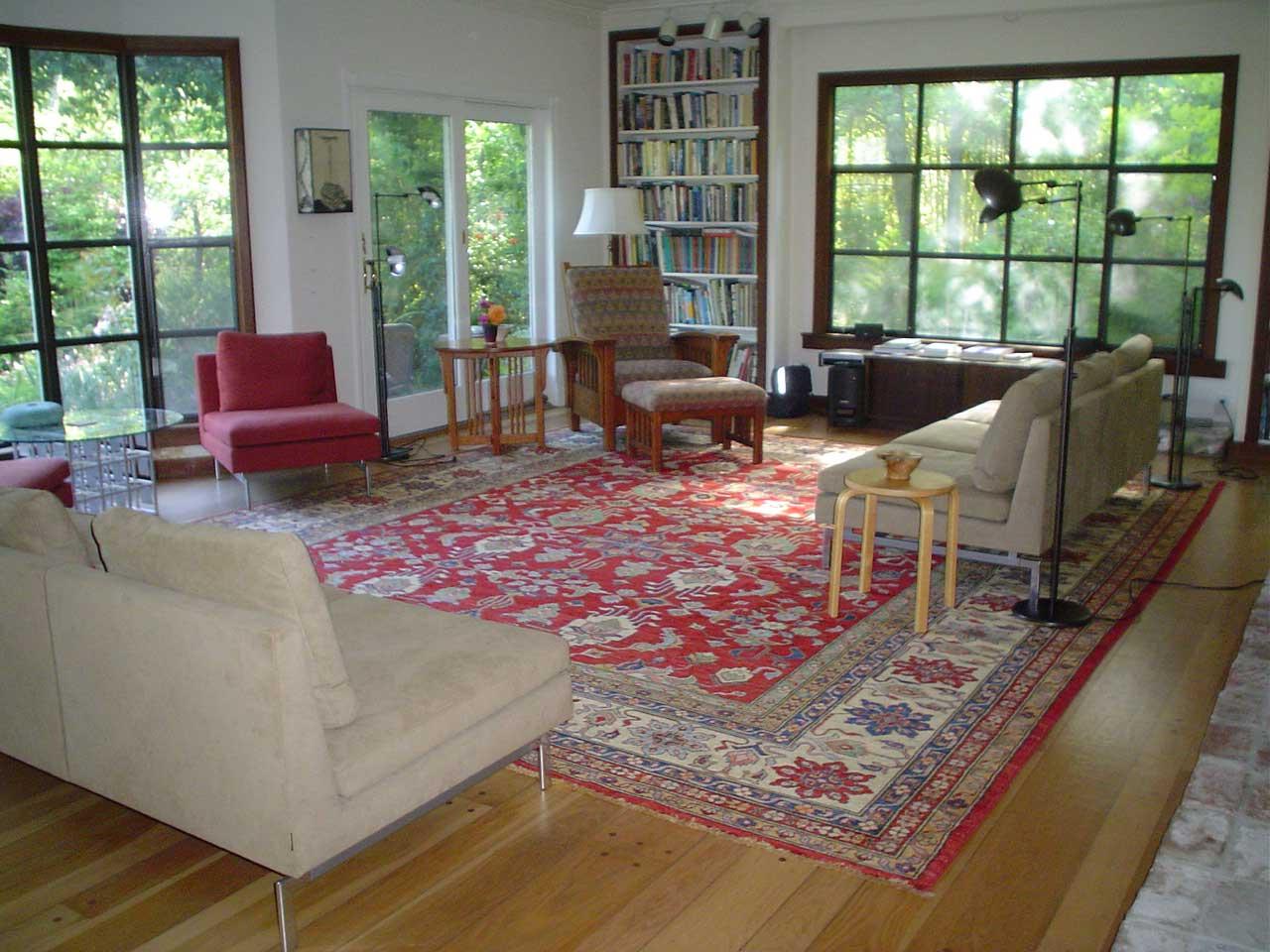12 x 14 Kazak rug in a client's home, here in Sebastopol, CA.