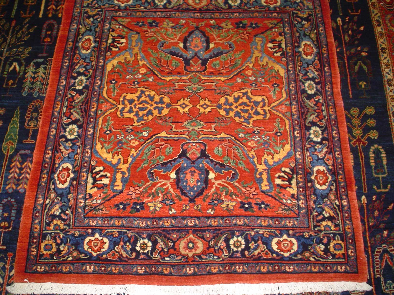 """Incredibly beautiful Persian Garros Bijar. 3' 7"""" by 4'  Deep, rust-red with multicolored accents. Sold."""