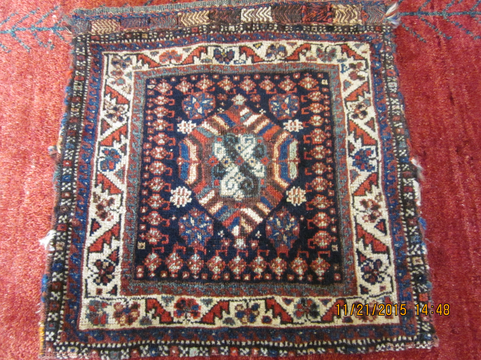 "#26a) Antique Persian tribal saddle bag. Great for a wall hanging. 1'7"" x 1'8"""