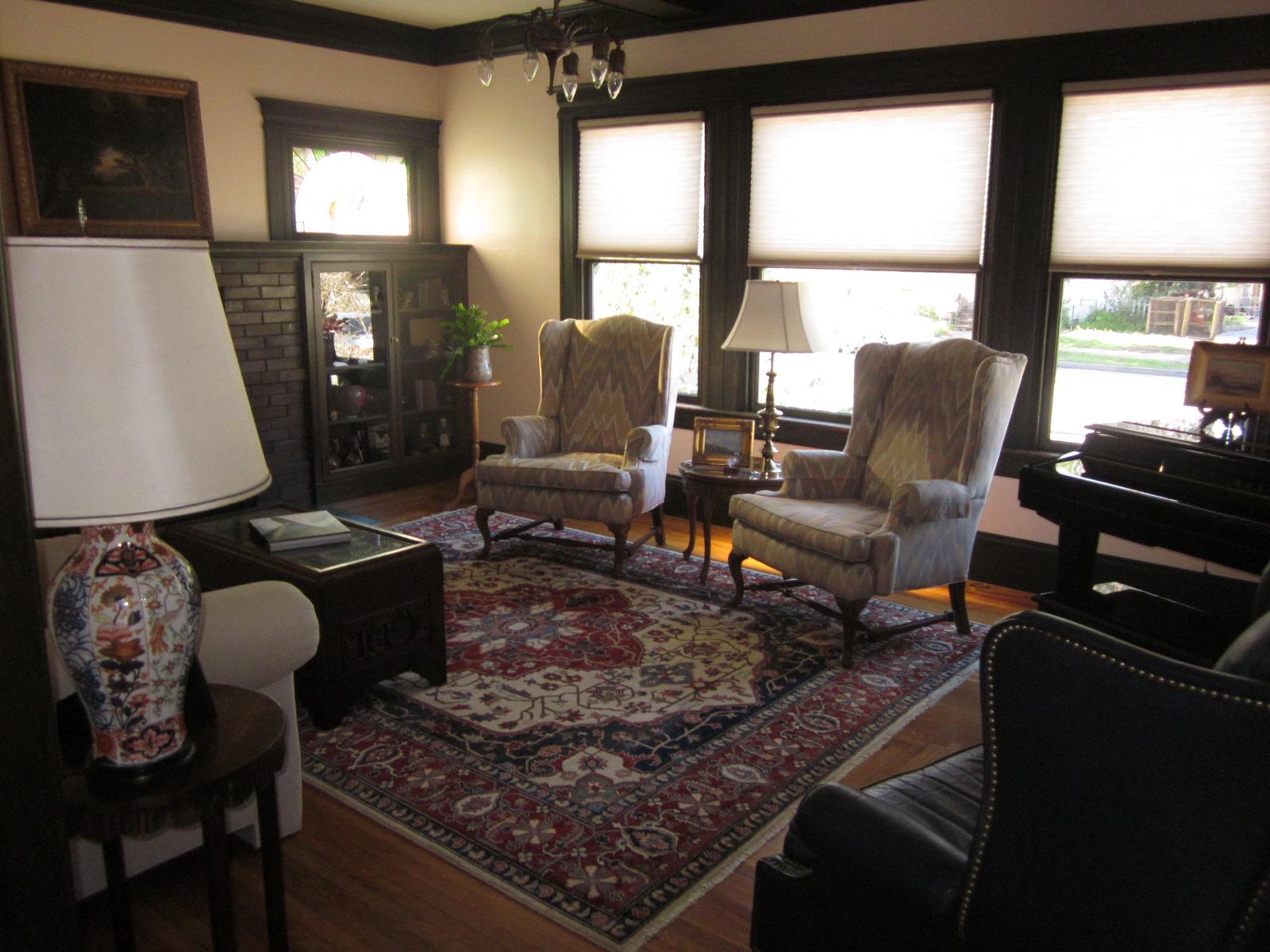8 x 10 Heriz rug in client's living room.