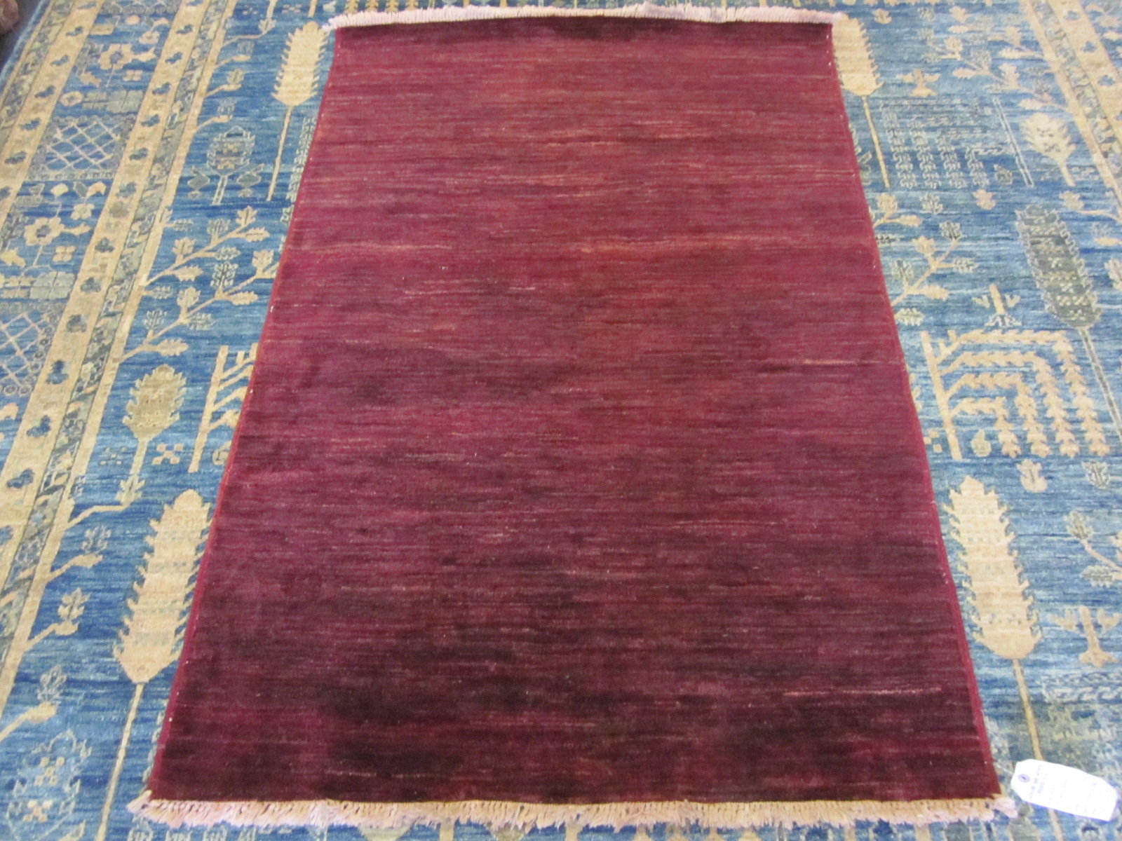 "#39) 3'2"" x 4'9"" Afghan Modern in a deep crimson red."