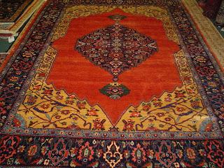 Photo: 6 x 8 Persian Bijar rug in brick red medallion design