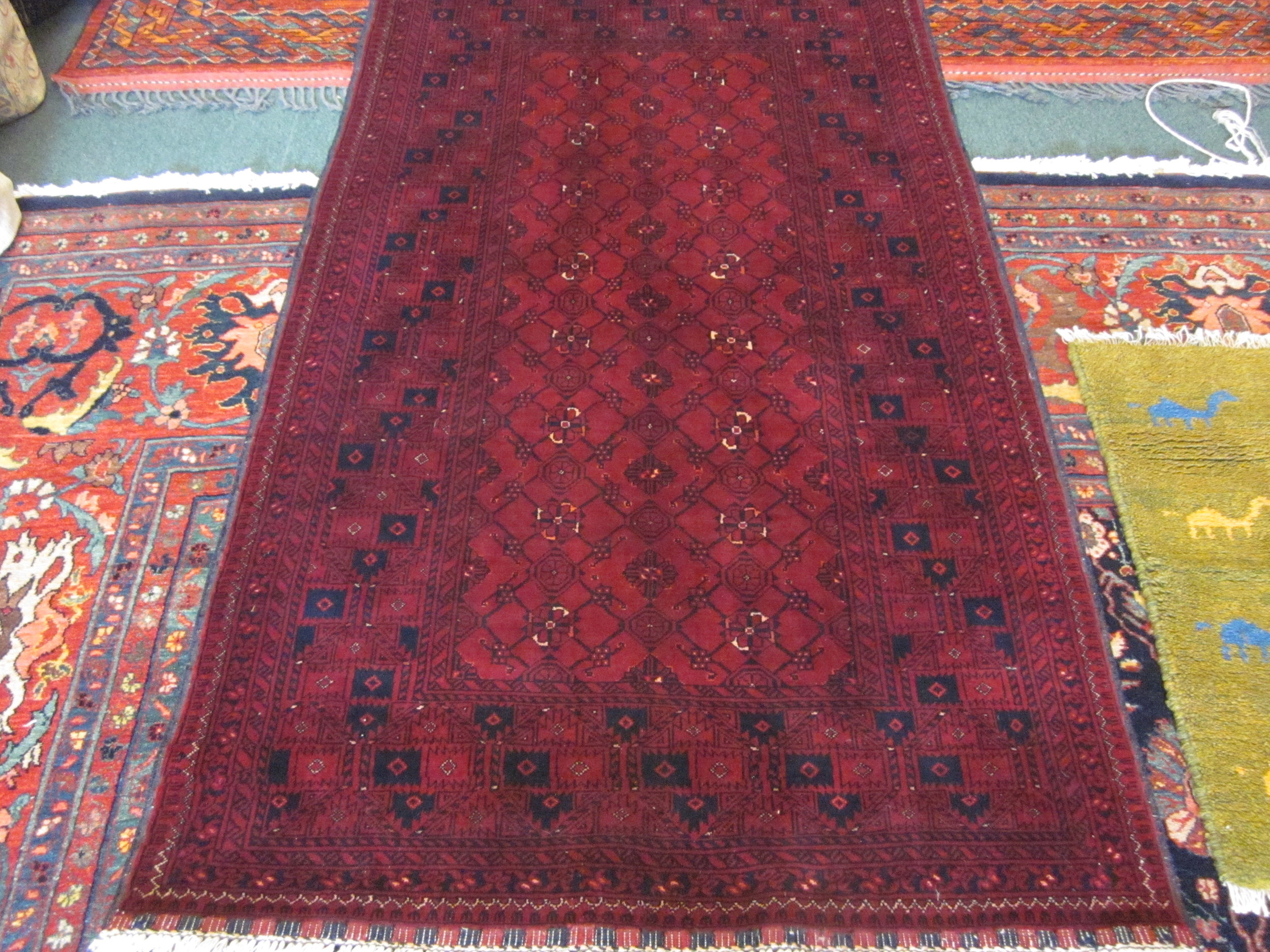 """#28) 3'3"""" x 6'3' Traditional Afghan Turkoman rug."""