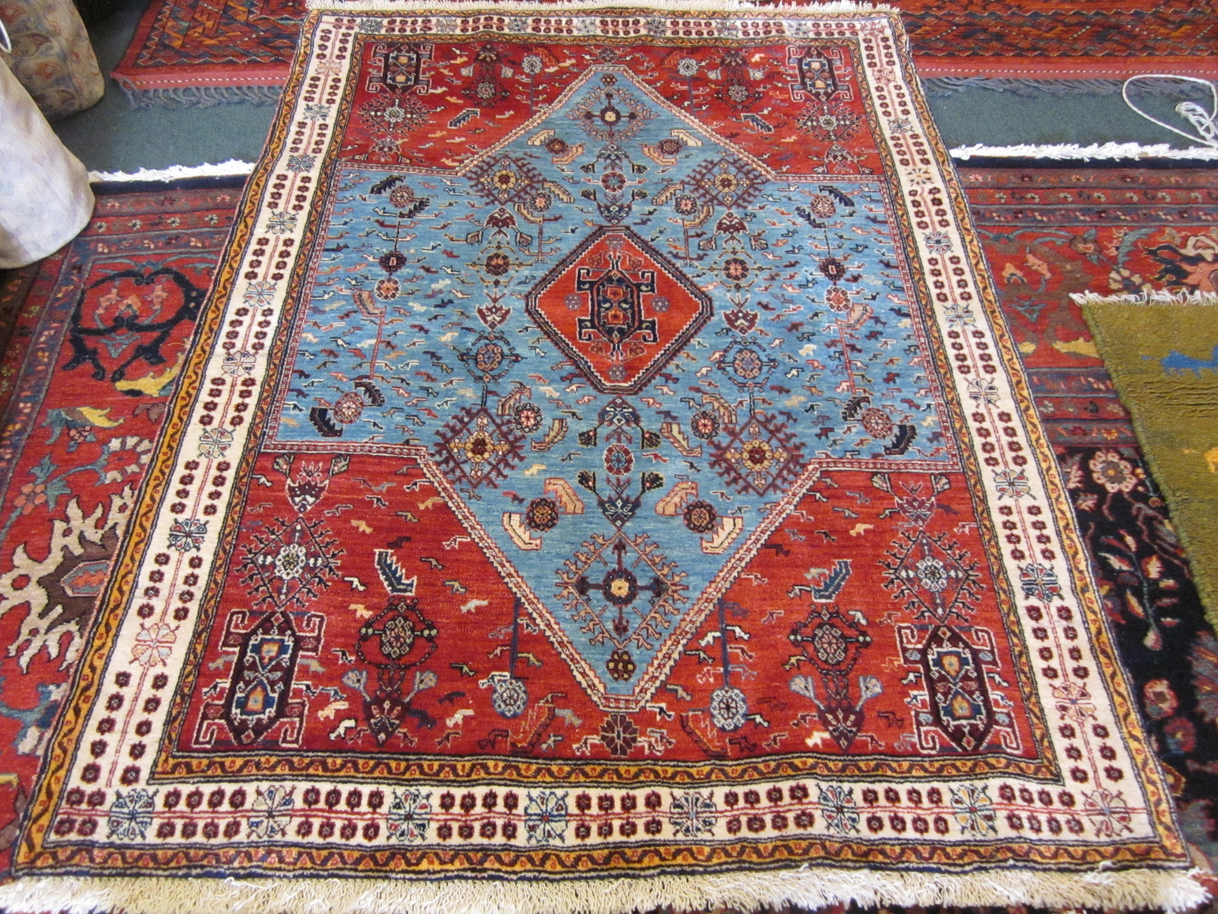 Beautiful 4' x 6' Qashqai rug. Sold.