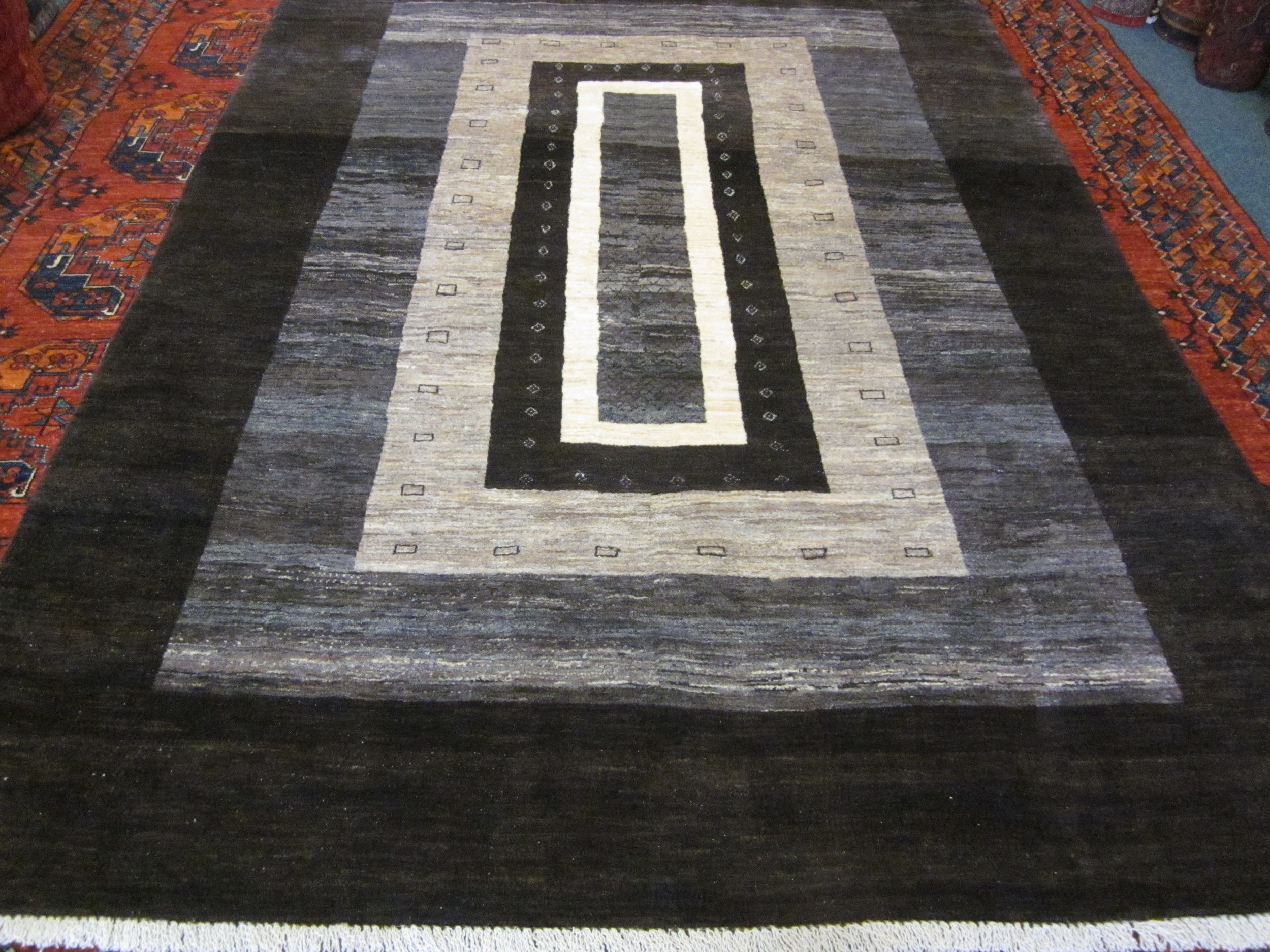 "#48) 5'7"" x 7'10"" Persian Gabbeh in natural colors. Lovely contemporary design."