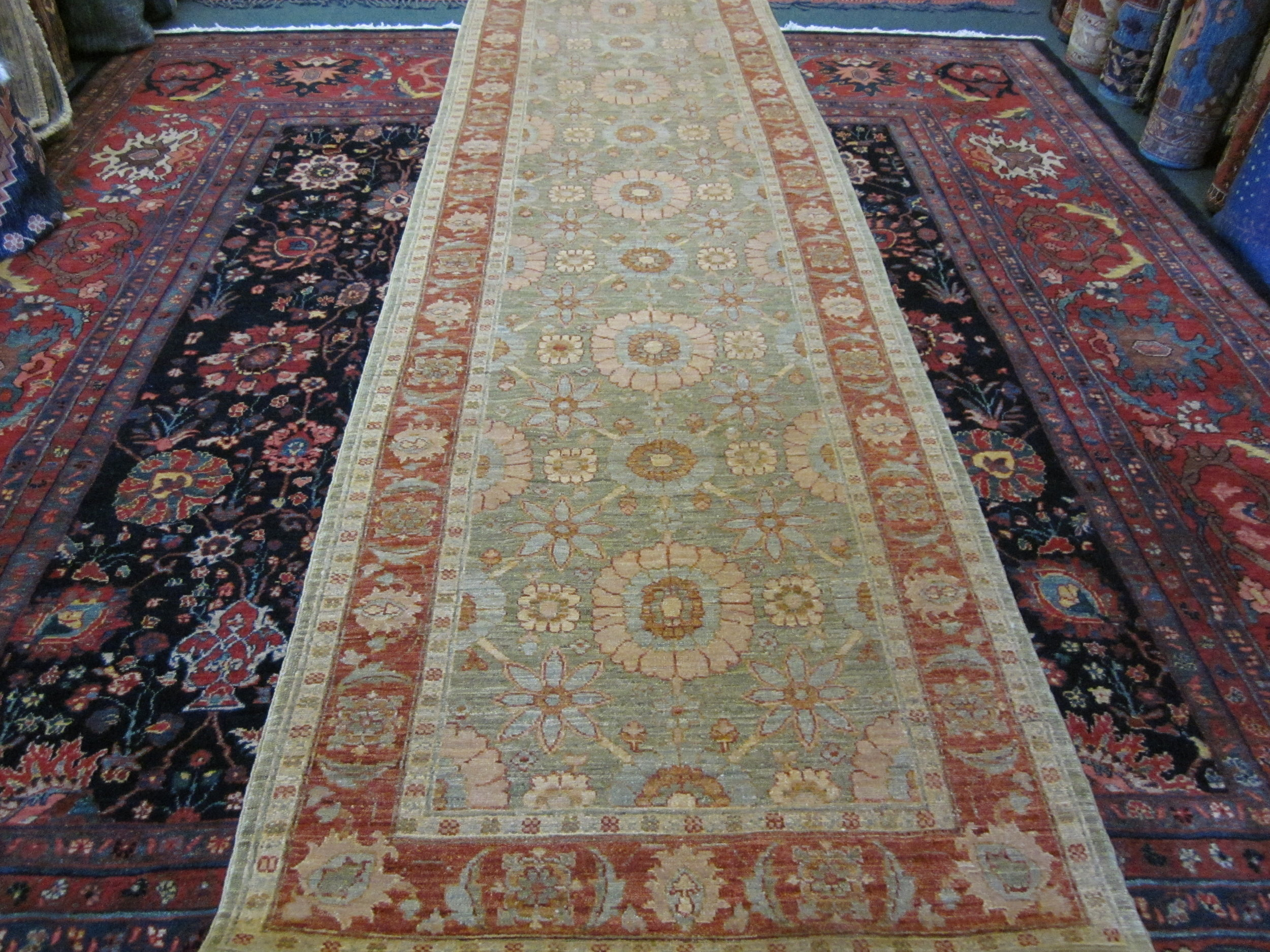 "#54) 3' x 13"" Afghan runner in an antique Tabriz design."