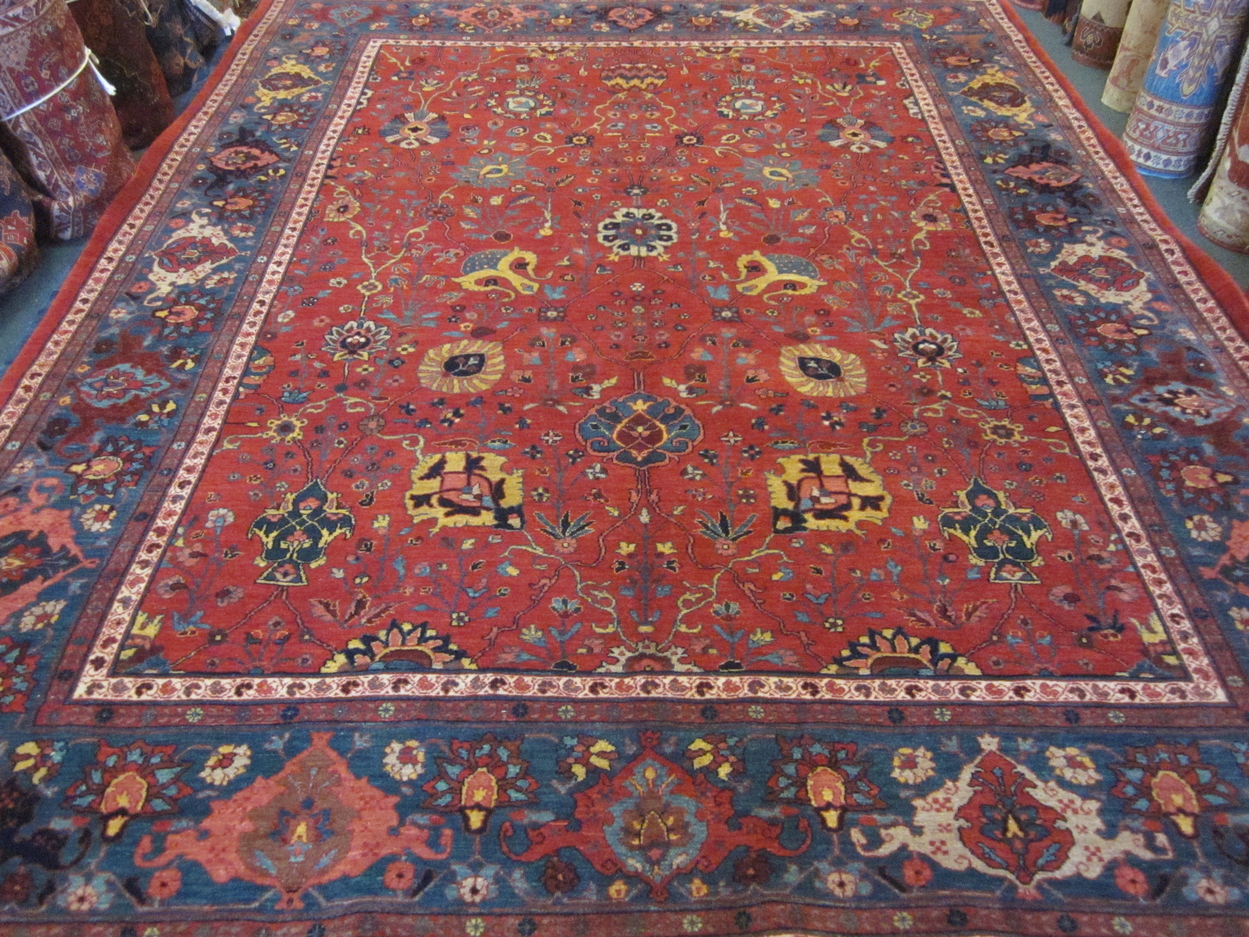 Photo: 8 x 11 Persian Bijar rug in the Shah Abbas design in red with jewel tones