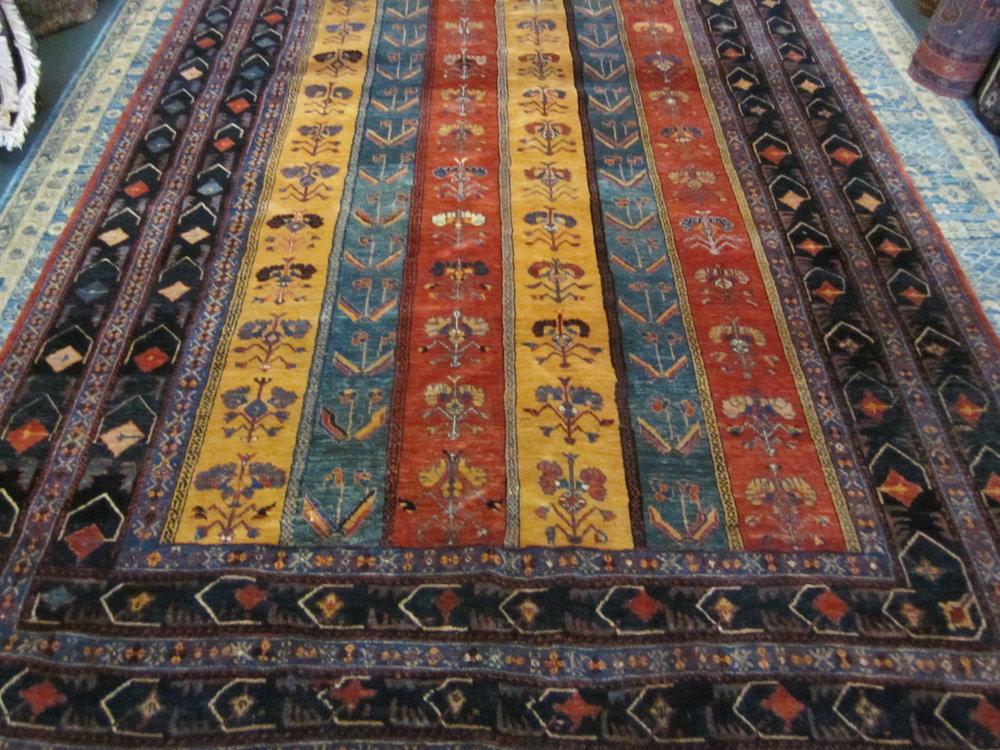 """6'9"""" x 9'5"""" Persian tribal rug. Khamseh"""