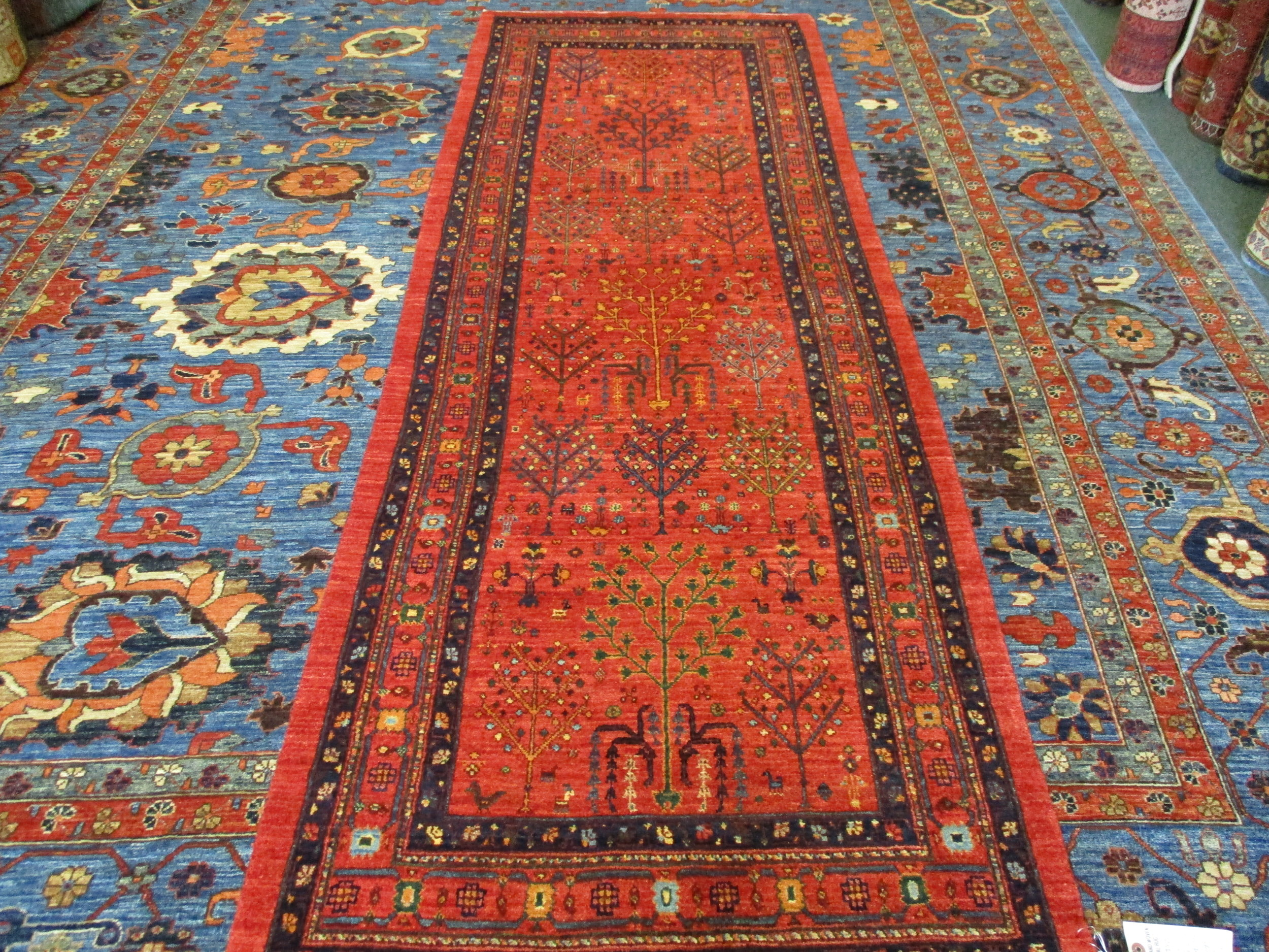 "2'10"" x 8"" Beautiful Persian runner. Tree-of-Life design."