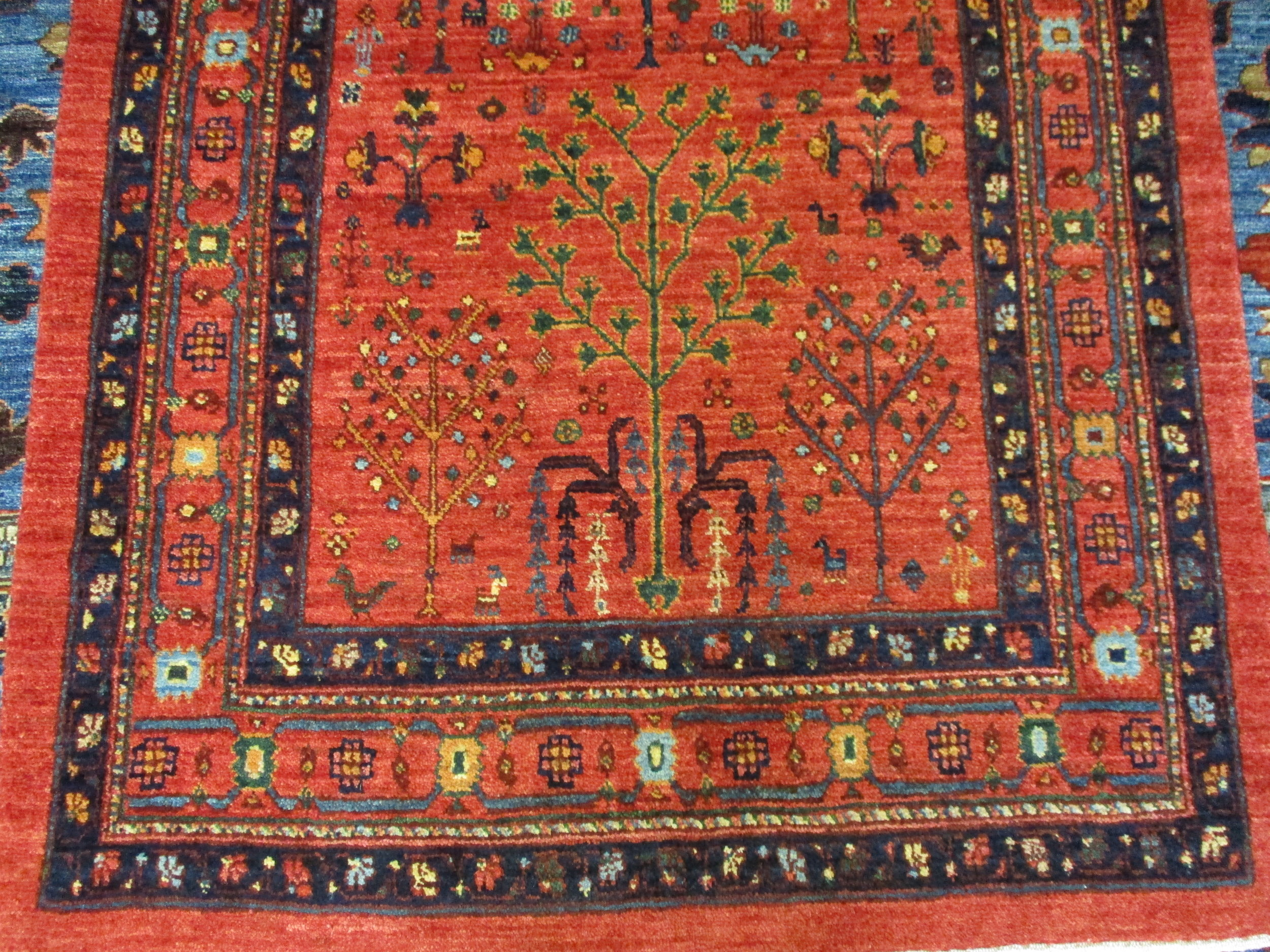 8' Persian tribal runner, close-up.