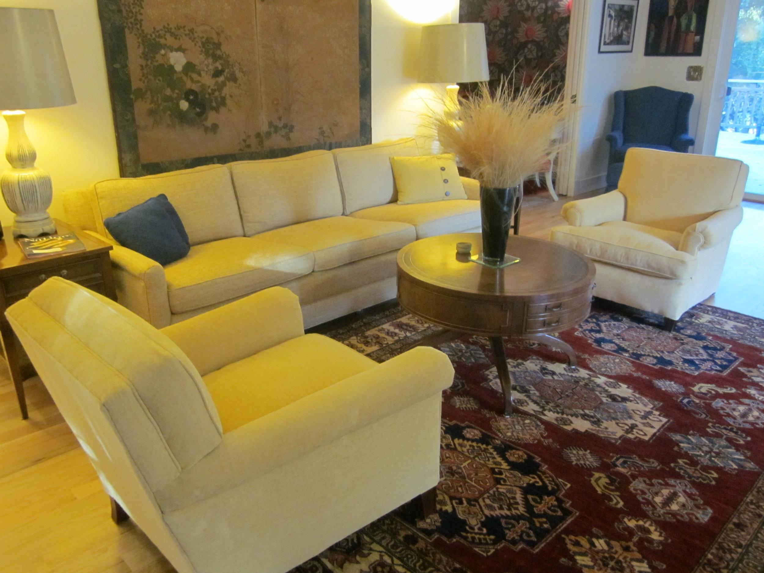 8 x 10 Kazak rug in client's home.