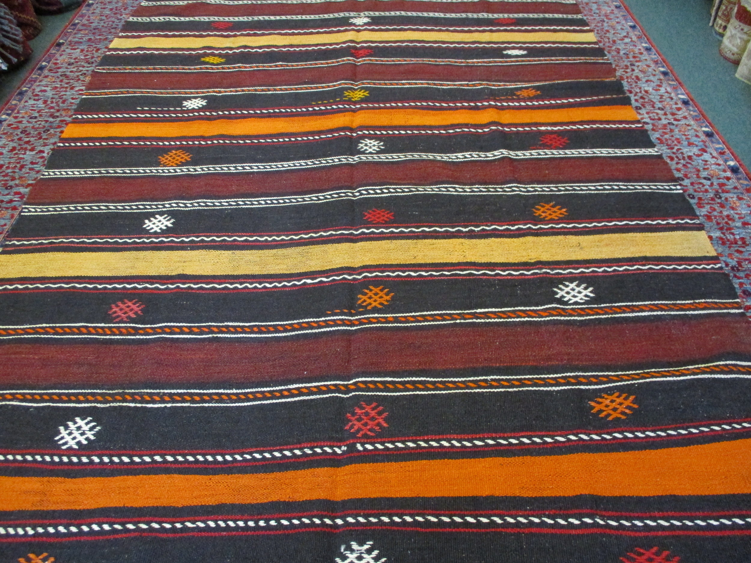 "6 x 9'7"" Vintage Turkish kilim. Bright, interesting colors in earth tones."