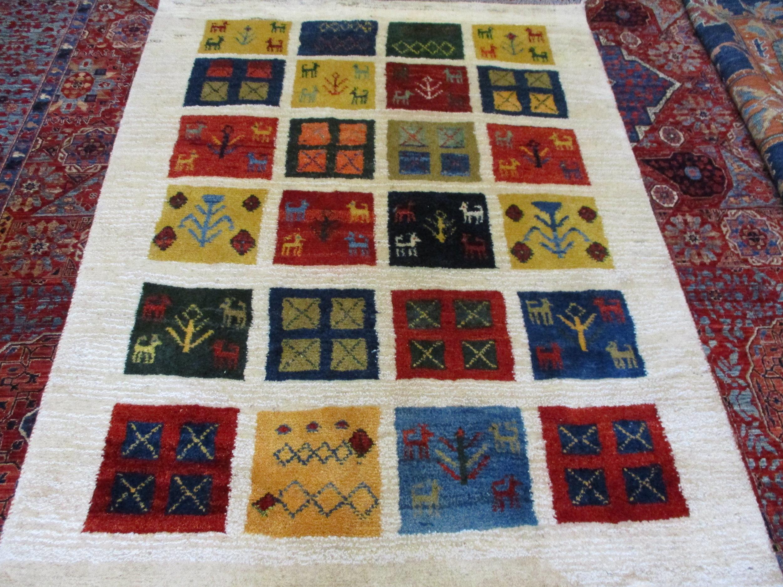"""#47a)  Persian Gabbeh rug, beautiful colors! 3'6"""" x 5"""""""