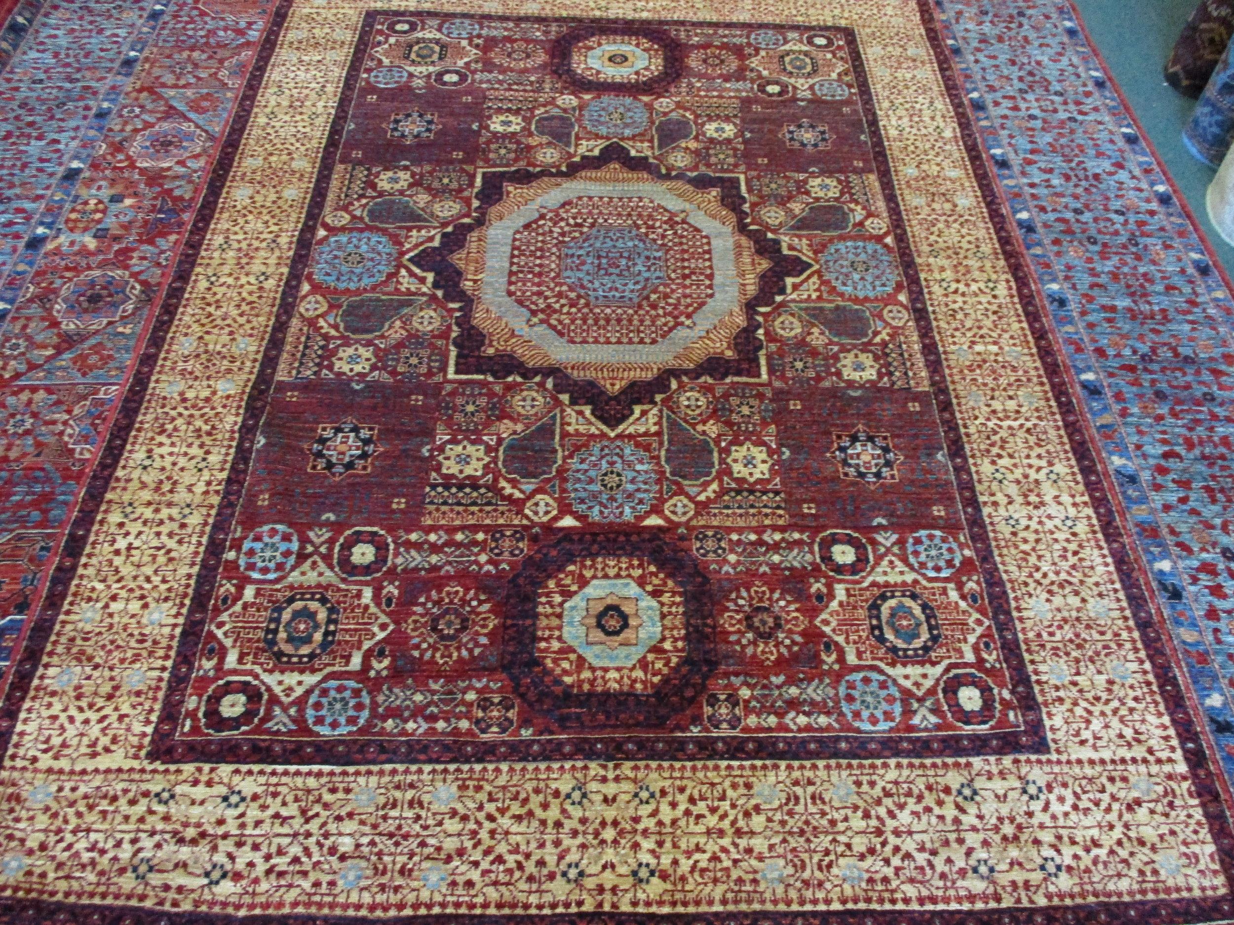 "4'9"" x 6'10"" Mamluk design Afghan rug."