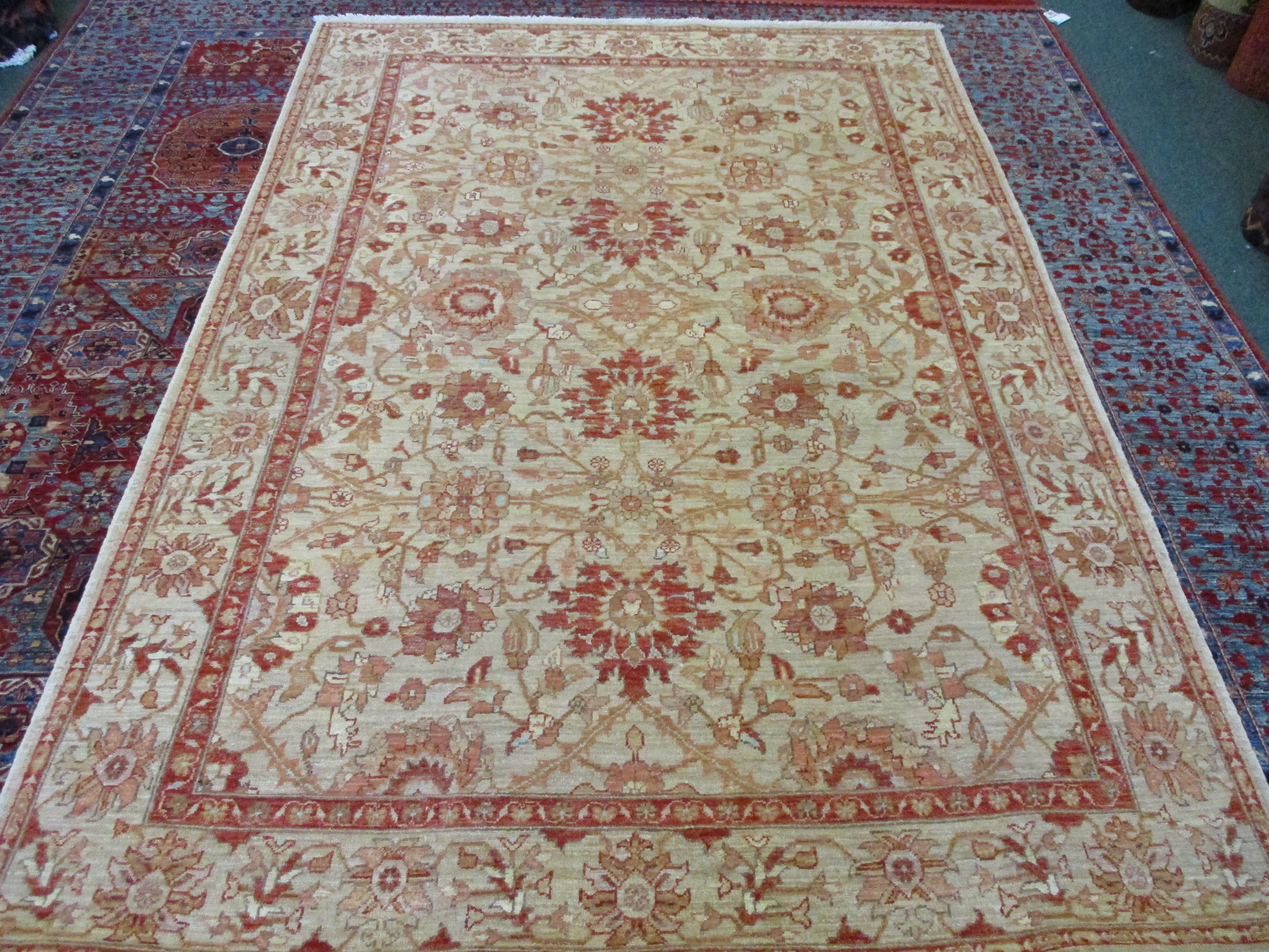 "#54) 4'10"" x 7'1"" Beautiful Afghan rug in soft colors!"