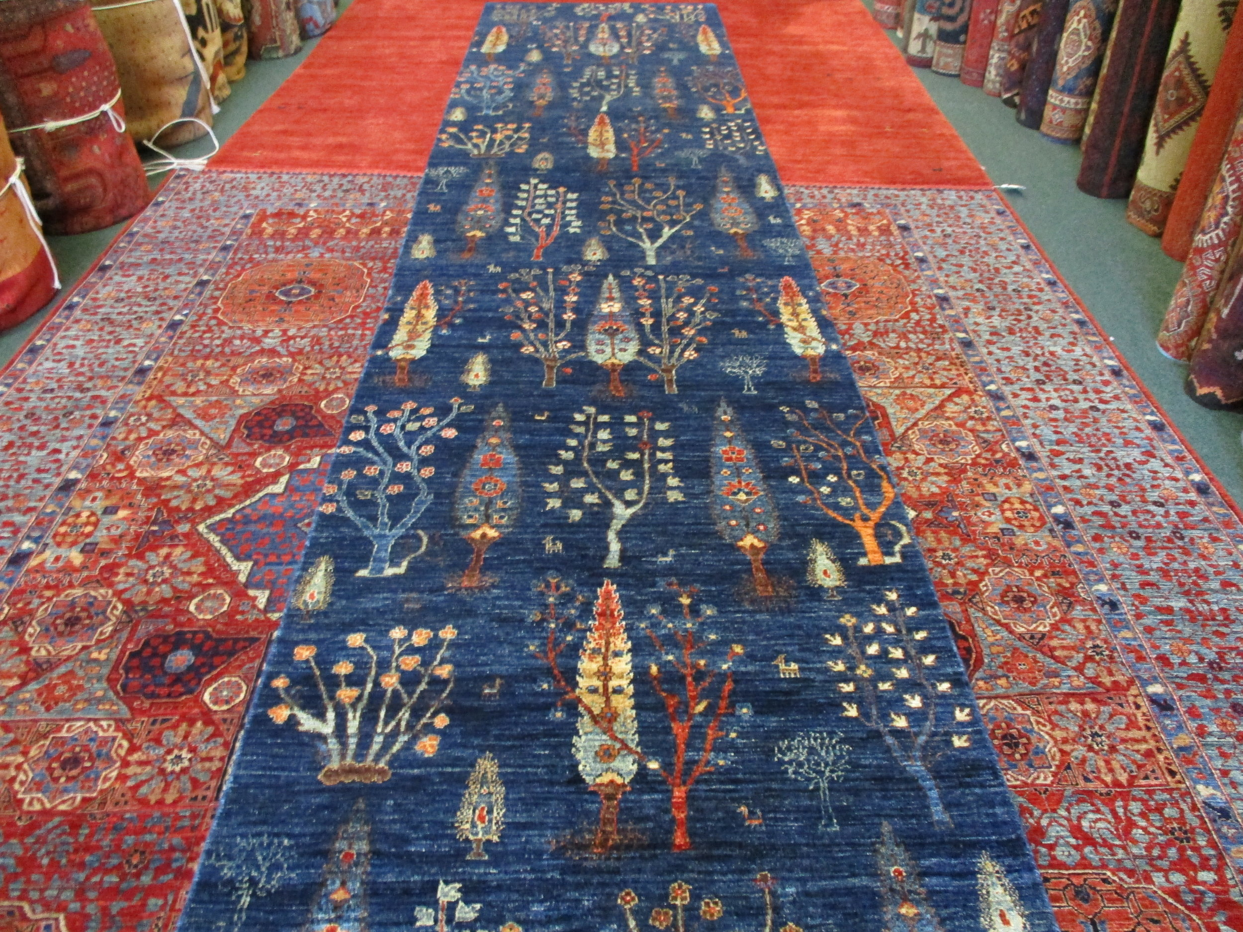 "#39a) 3'4"" x 15' Afghan Tree of Life runner. Gorgeous!"