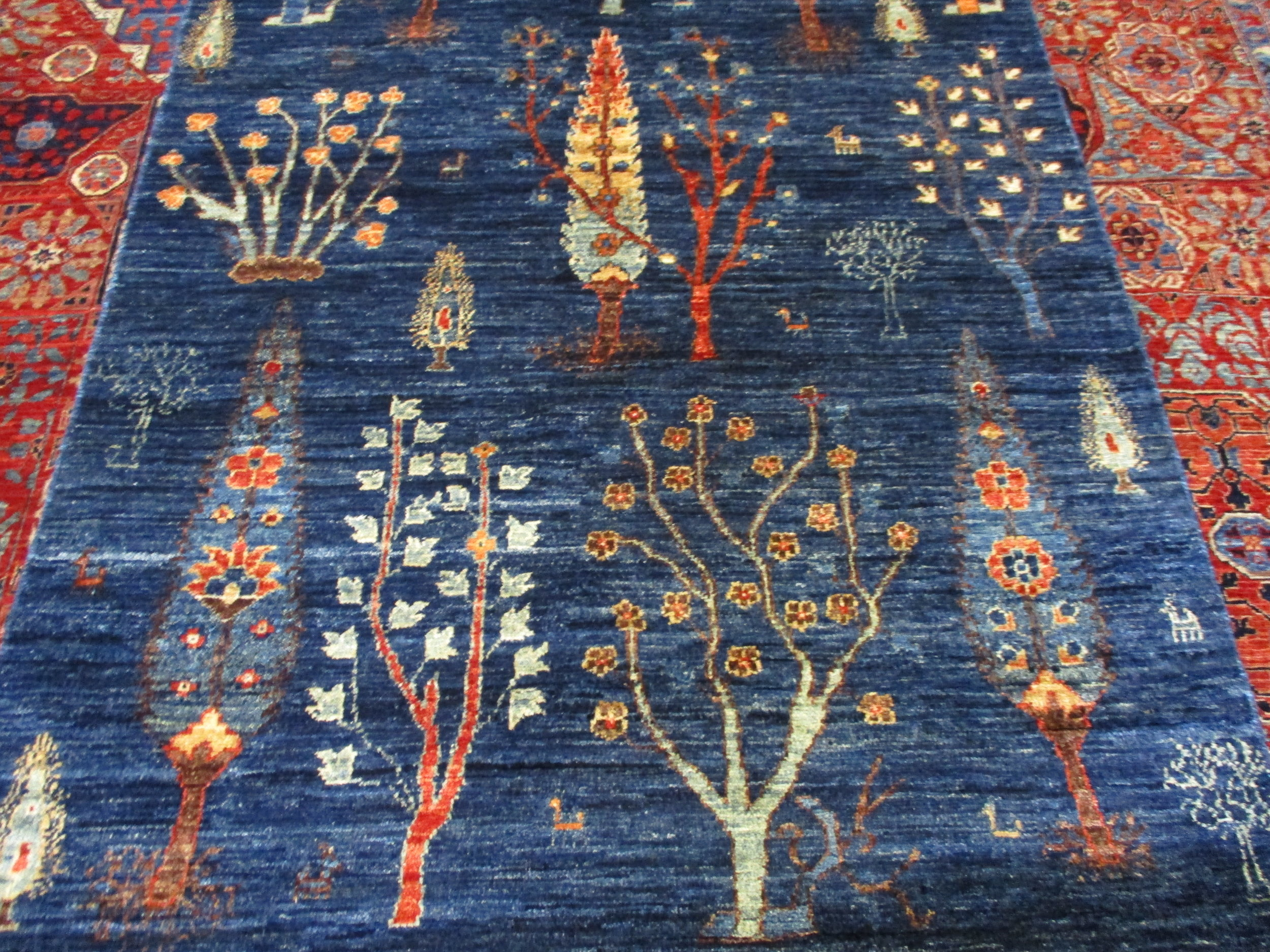 #39b) 17 ft. Afghan runner, close-up. Exquisite drawing, beautiful colors!