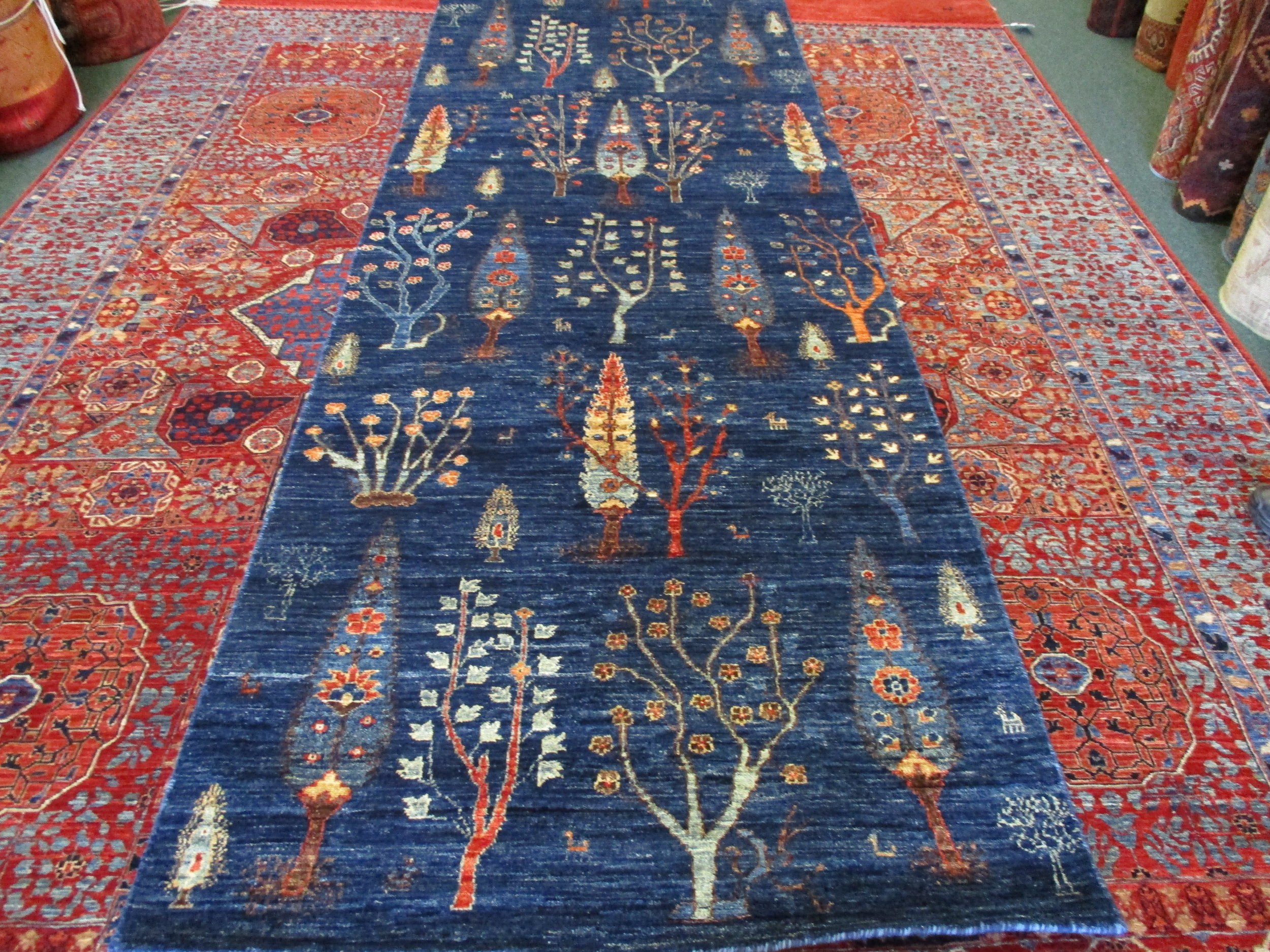 """#44) Beautiful 3'4"""" x 15' Afghan runner in the Tree of Life design."""