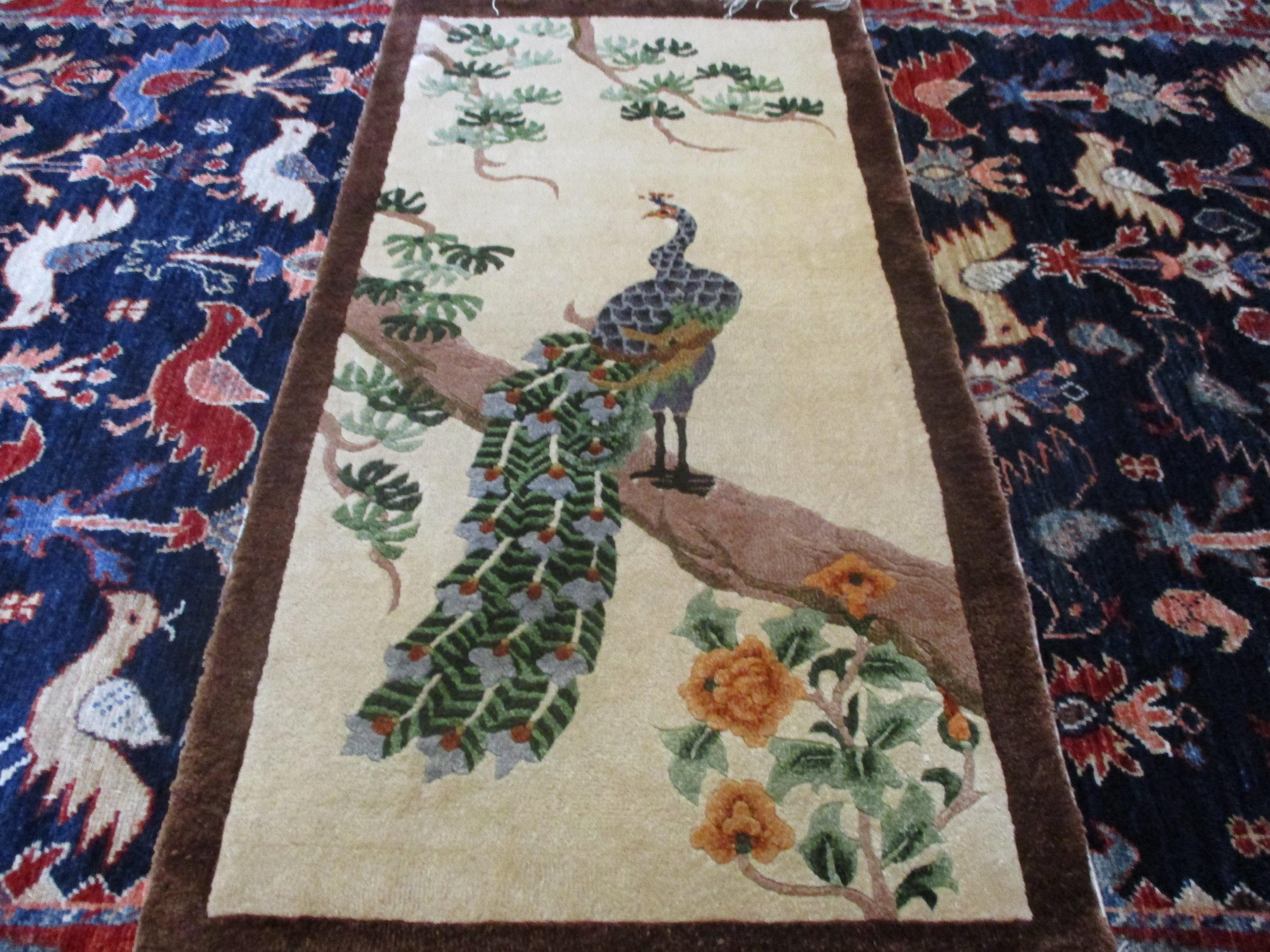 "Vintage silk rug. Silk on an silk foundation. Perfect condition. 1'6"" x 3'4"""