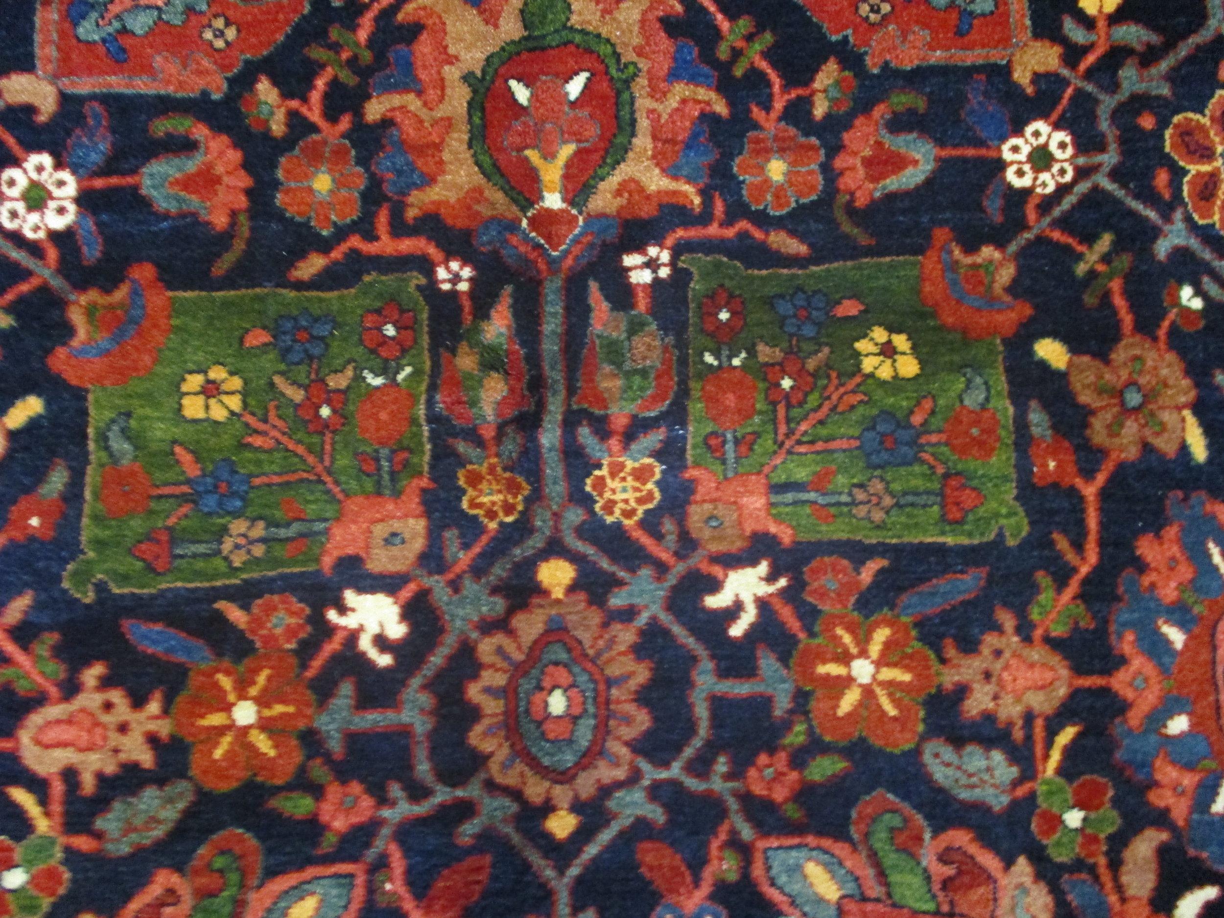 """5'1"""" x 7'3"""" Bijar rug woven in beautiful colors."""
