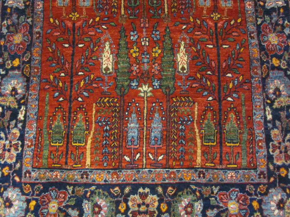 Small Bijar rug with gorgeous colors including a lovely olive green. Bid Majnun Design.