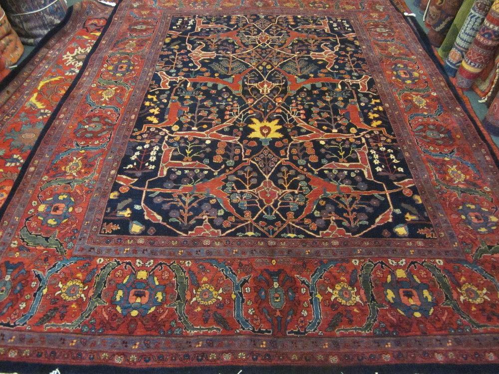 Navy Persian Bijar rug Garrus Design