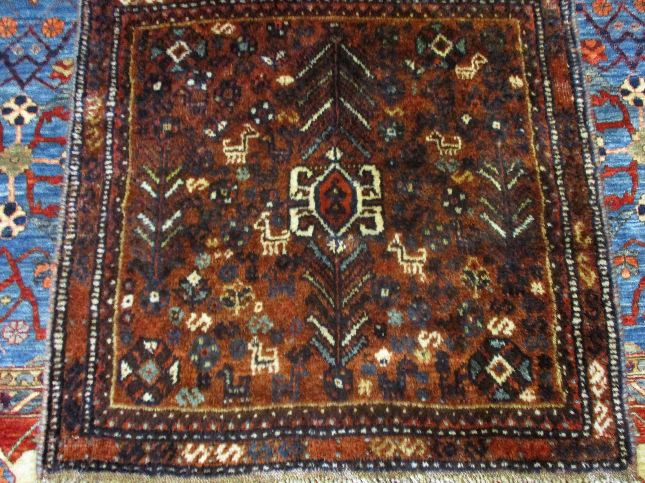 Vintage Persian Shiraz rug.