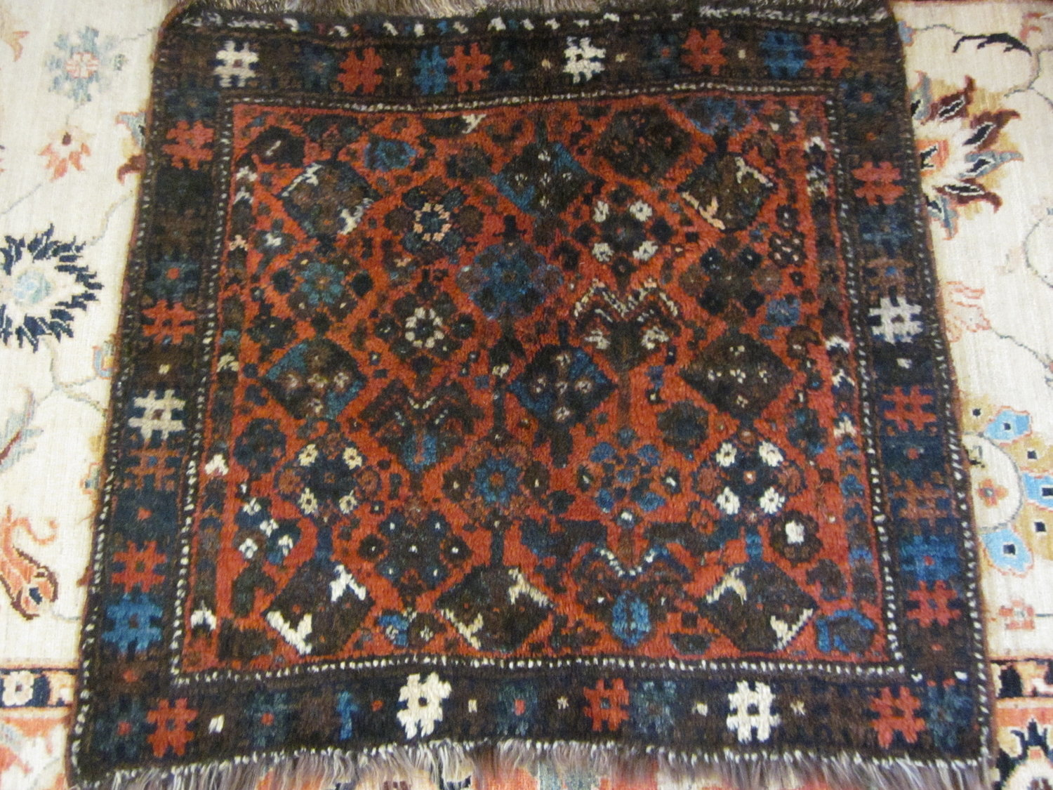 Lovely antique Shiraz rug with very silky wool.