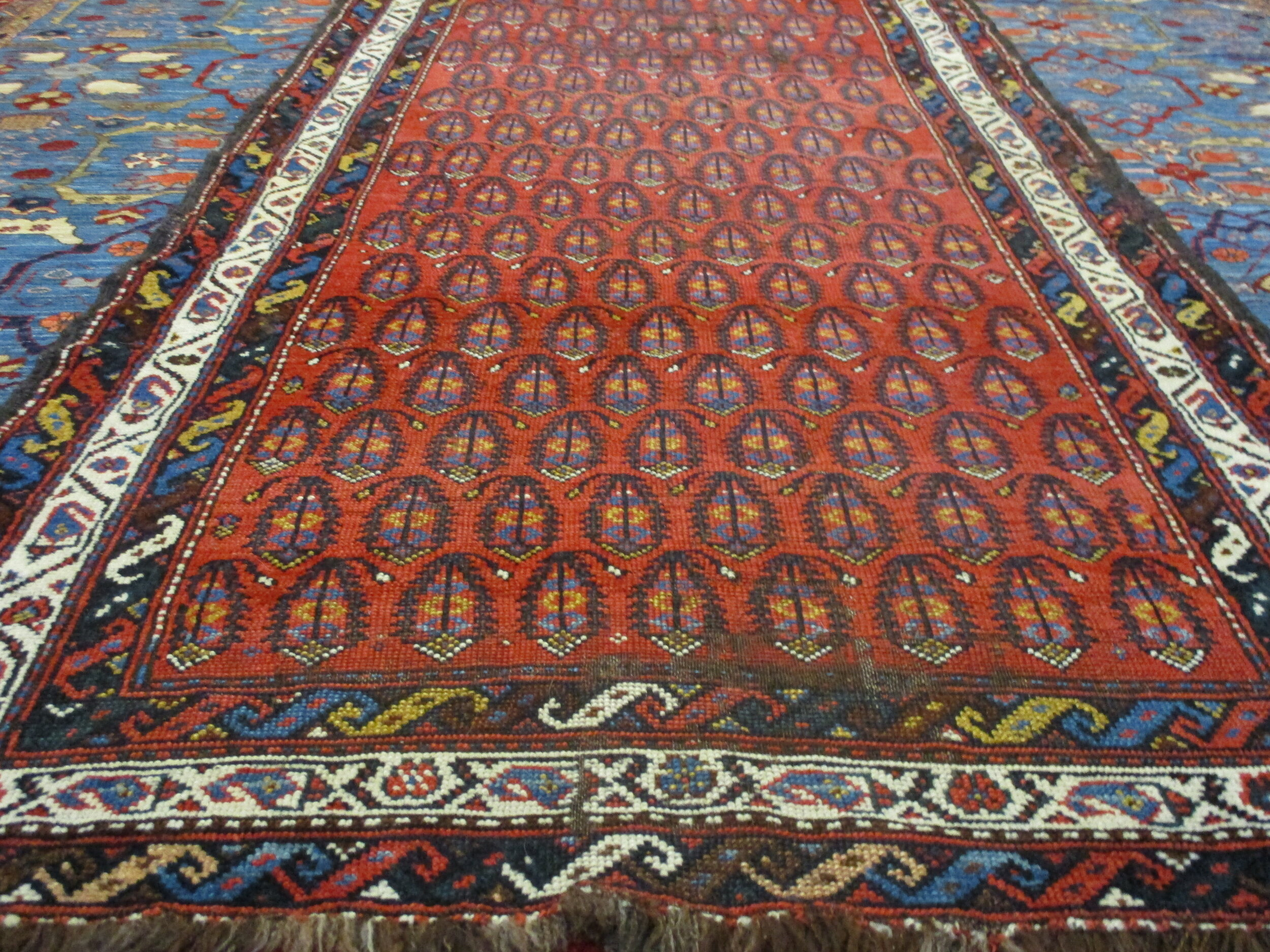 """3'2"""" x 9' Antique Persian Luri runner. Available, for sale. Also in gallery 4."""