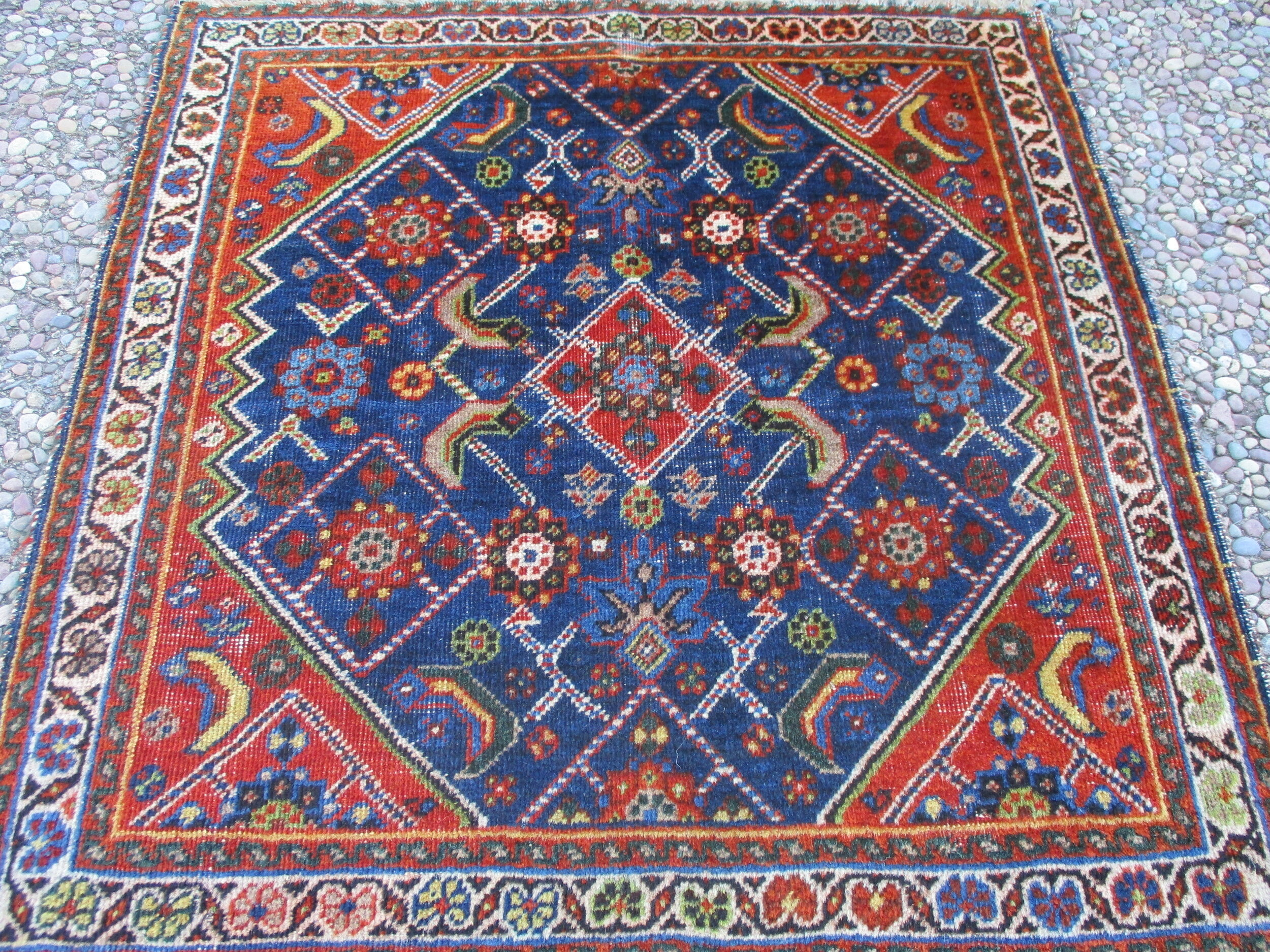 2' x 2' Beautiful antique Qashqai bagface. (front of an antique saddlebag) Very finely woven with gorgeous colors and a detailed drawing.