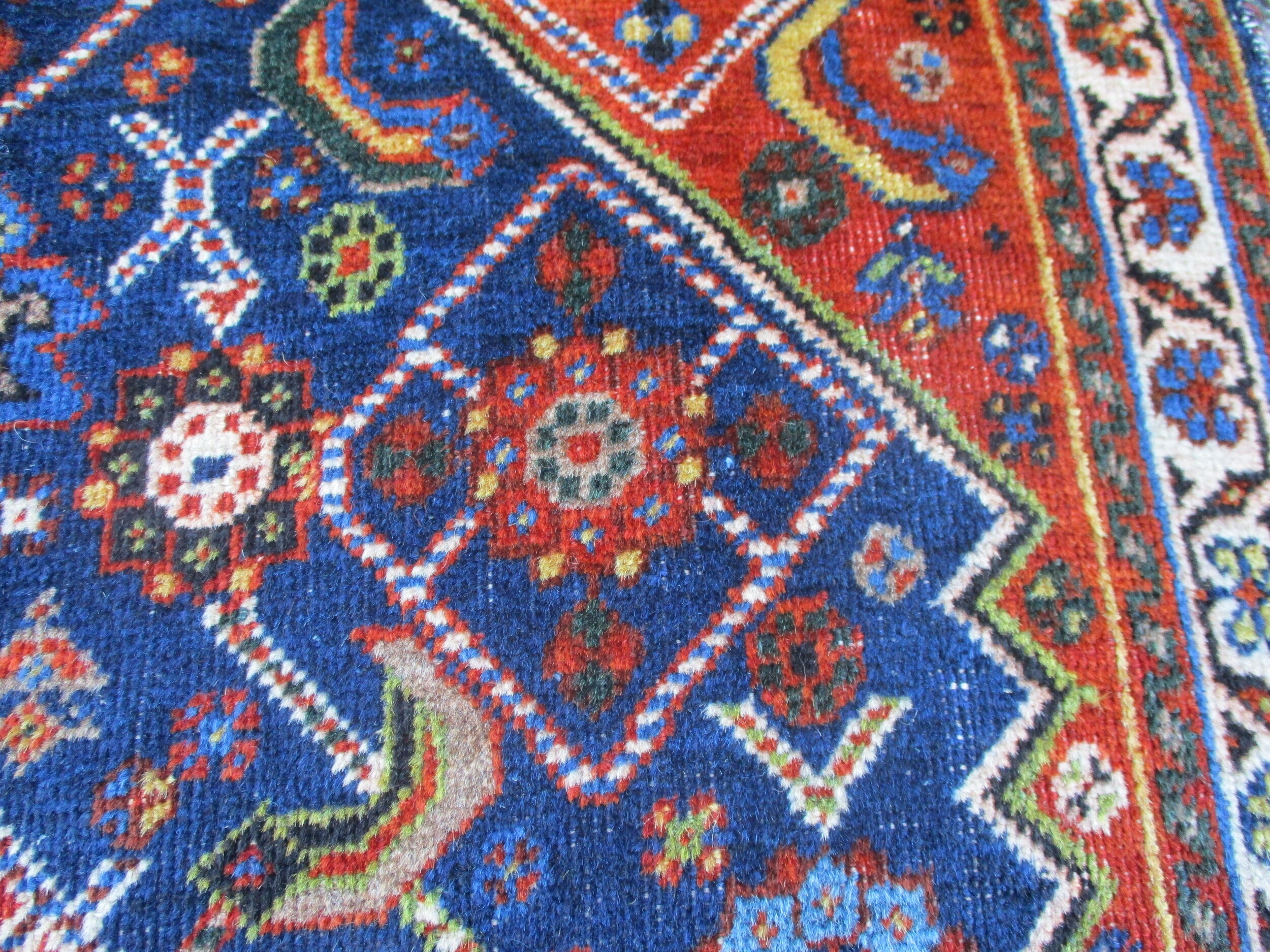 Antique Qashqai (Persian) bagface, close-up.