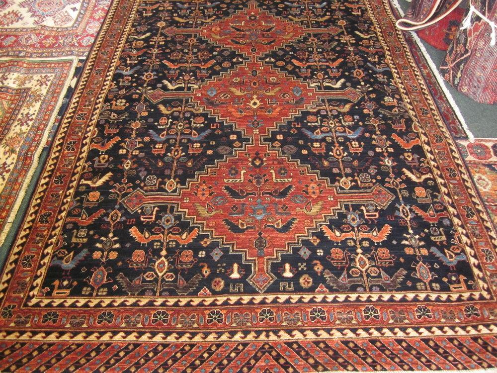 Here is a rug that was woven in Afghanistan, in a Qashqai design.