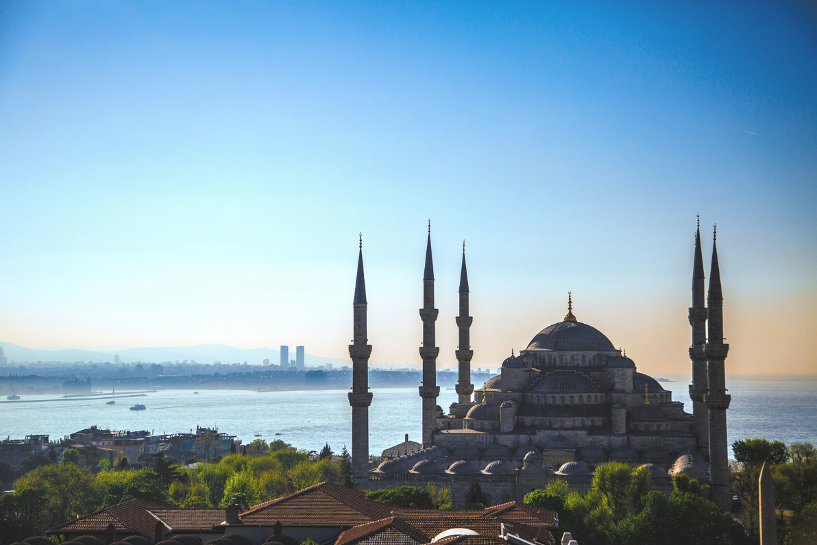 Istanbul's Sultan Ahmed Mosque, also known as the Blue Mosque overlooking the Bosphorus.  Photo: Rayan M.