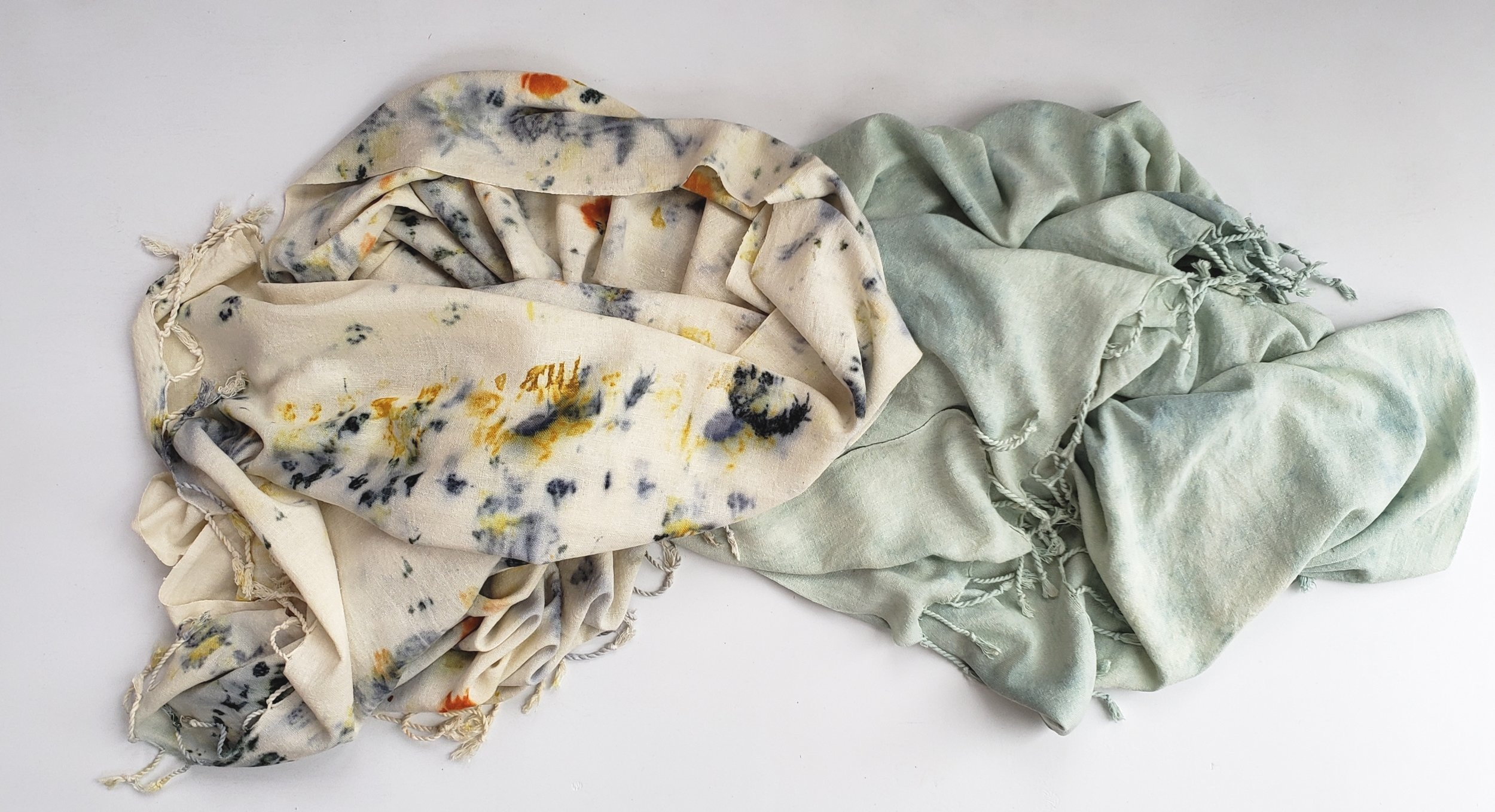 Each scarf is hand dyed resulting in one of a kind pieces