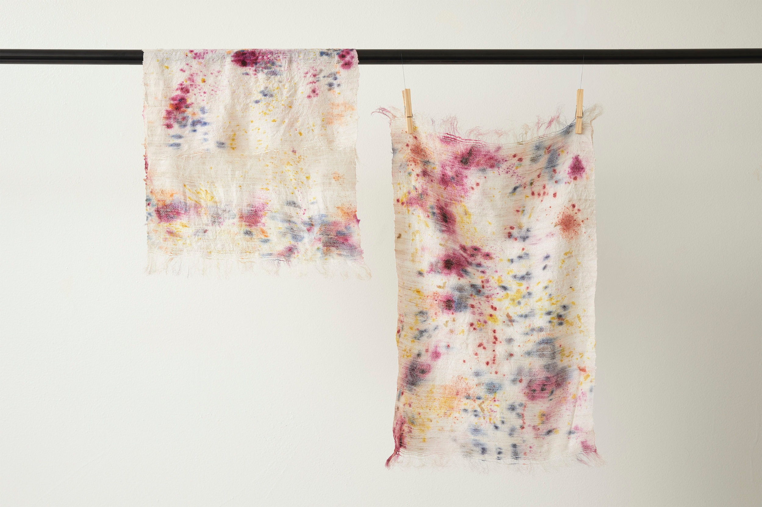 Bundled dye placemats for 5TH26 on Eri Silk