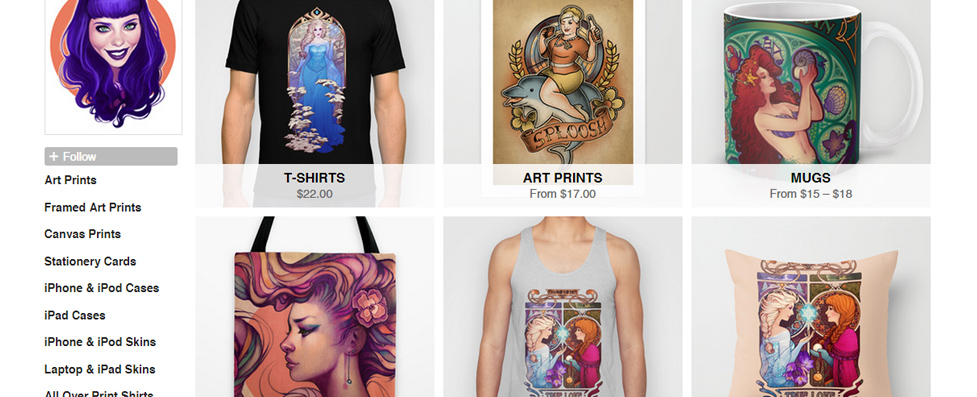 Society6 (S6)  is more fine art oriented.  They sell really high quality art prints, bedding, mugs, etc.  They also frequently have free shipping, so keep an eye out for those.  I have the majority of my catalog available here.