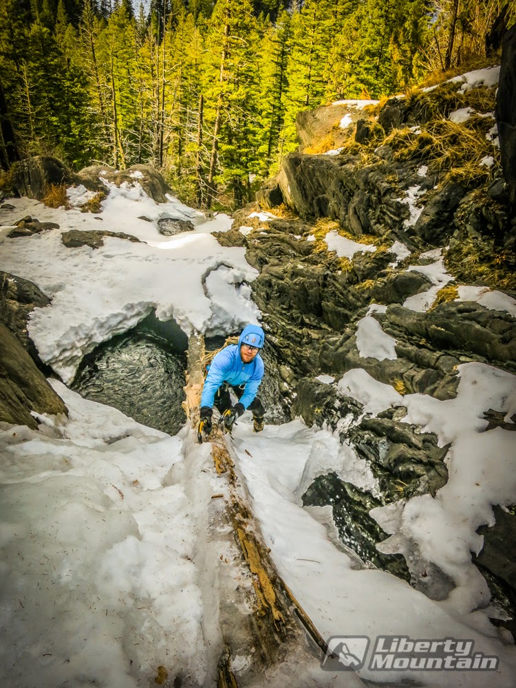 Benjamin Eaton trying to access some climbable ice on Pine Creek Falls near Livingston, MT. Photo by Peter McConkie.