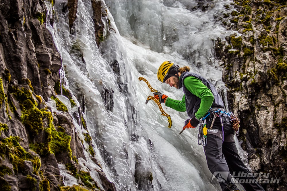 Peter McConkie climbing Lower Green Sleeves in Hyalite Canyon near Bozeman, MT. Photo by Benjamin Eaton