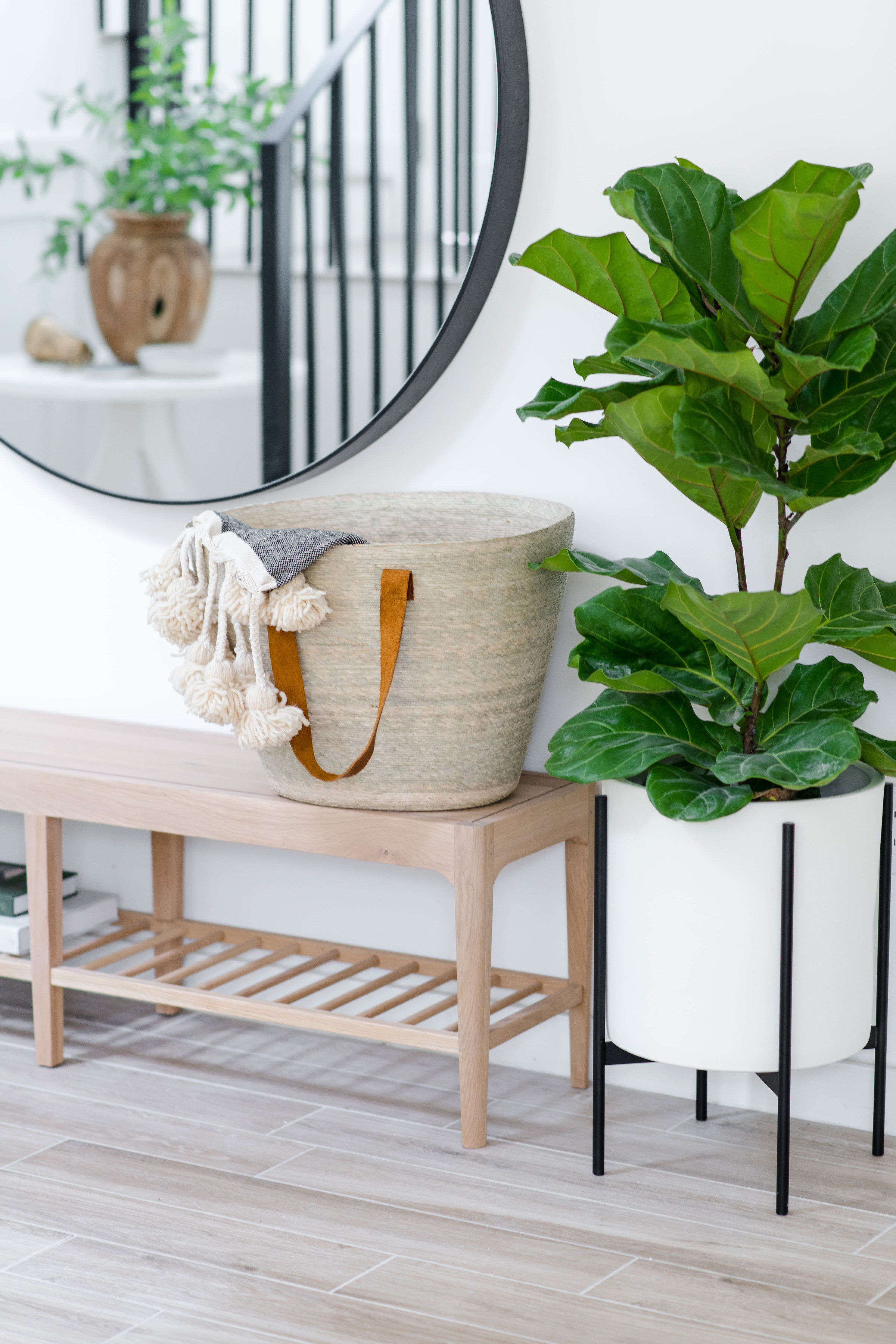 modern entryway bench with round mirror - the habitat collective interior design - #projectpeachy