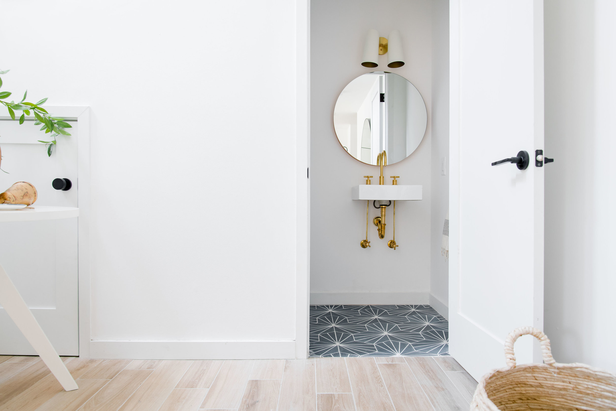 powder bathroom with patterned tile - the habitat collective interior design - #projectpeachy