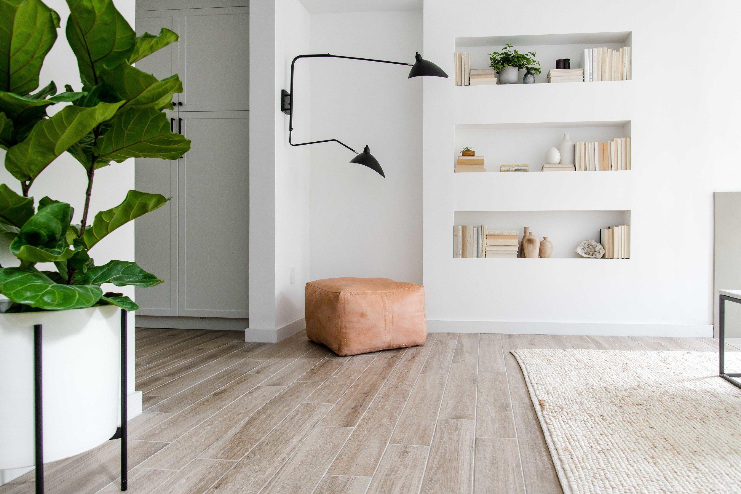 modern built in shelving for reading nook