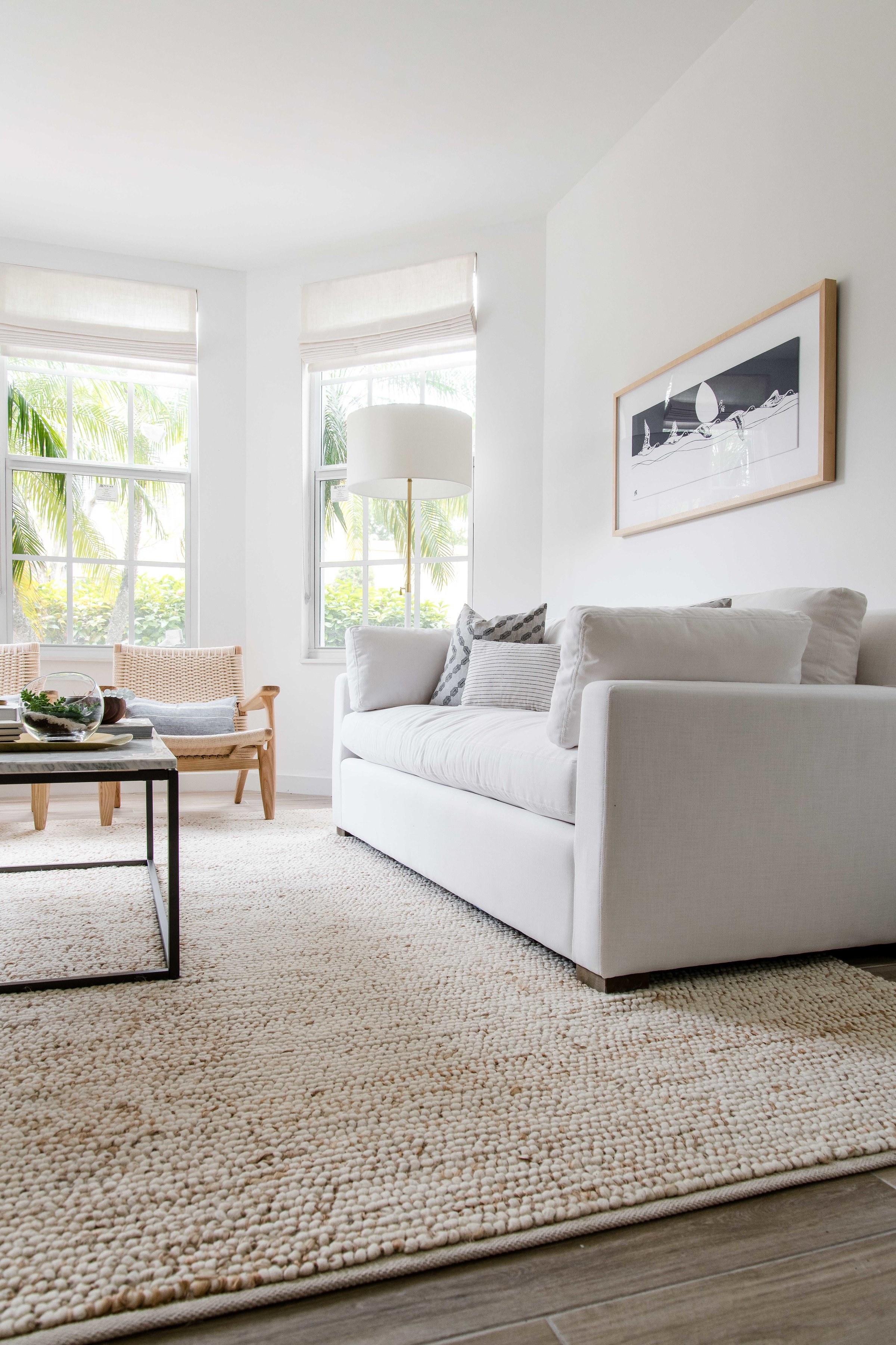 white sofa in a modern neutral living room - the habitat collective interior design - #projectpeachy