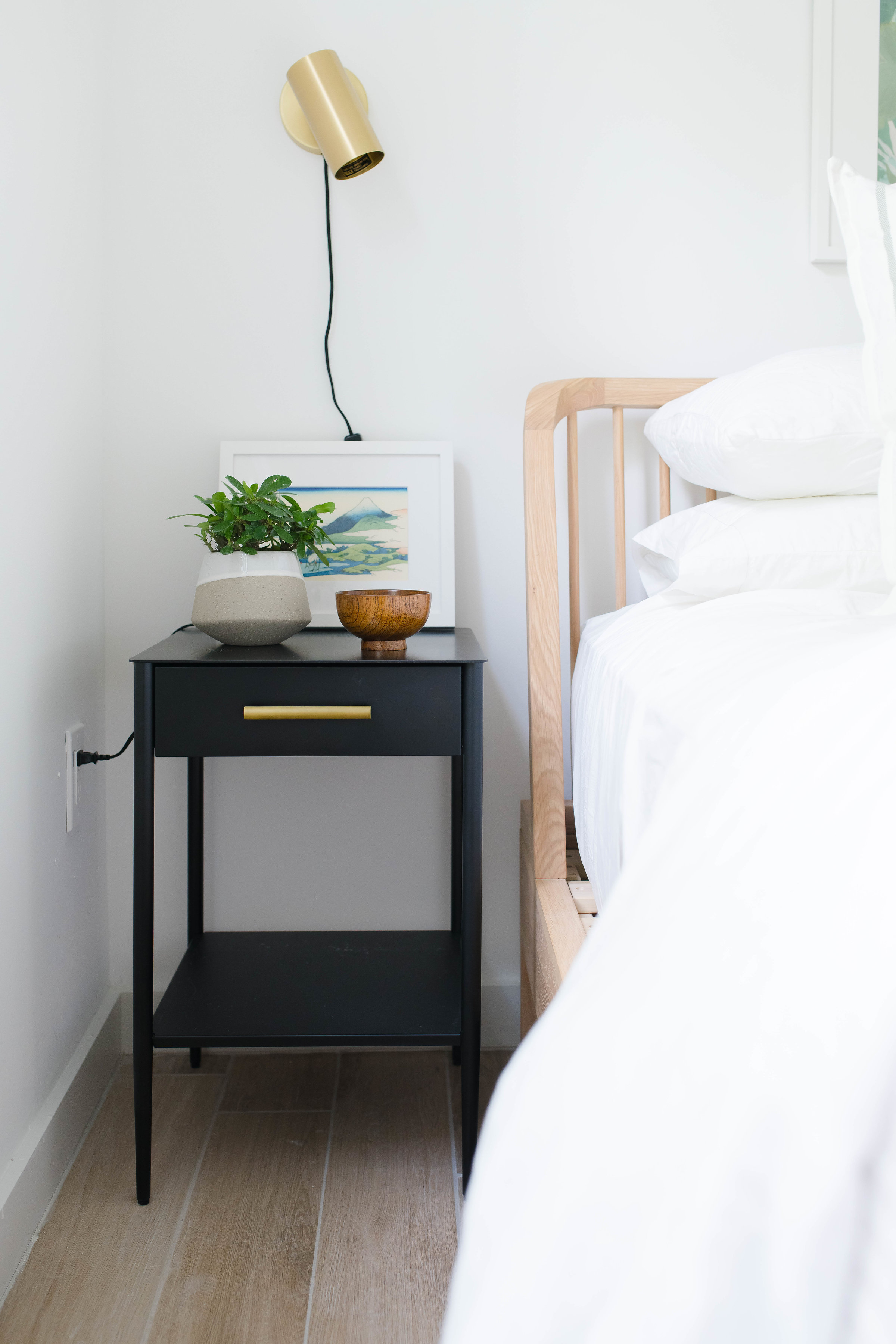 black nightstand with brass sconce - the habitat collective interior design - #projectpeachy