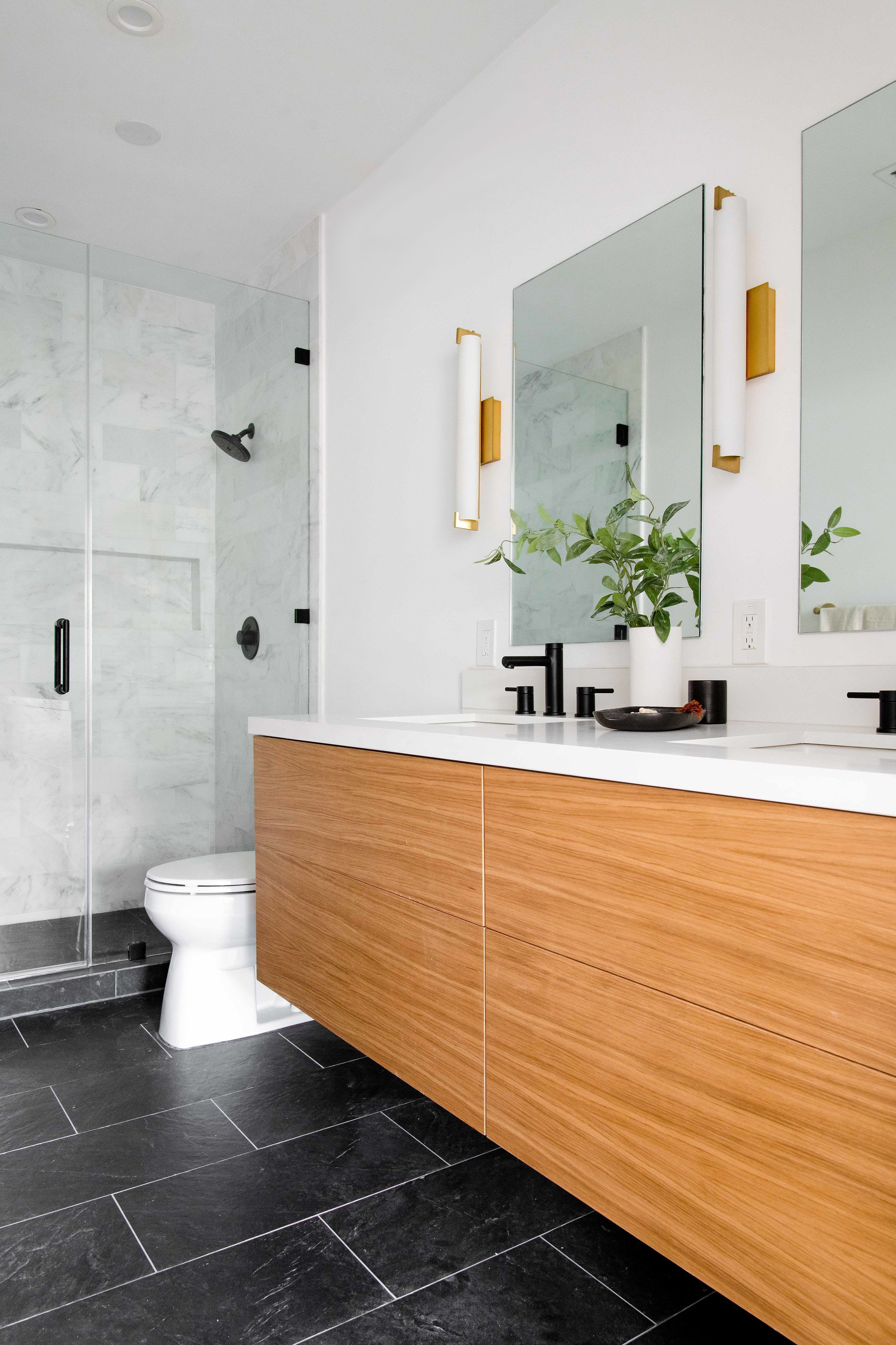 marble walk in shower with wooden vanity - the habitat collective interior design - #projectpeachy
