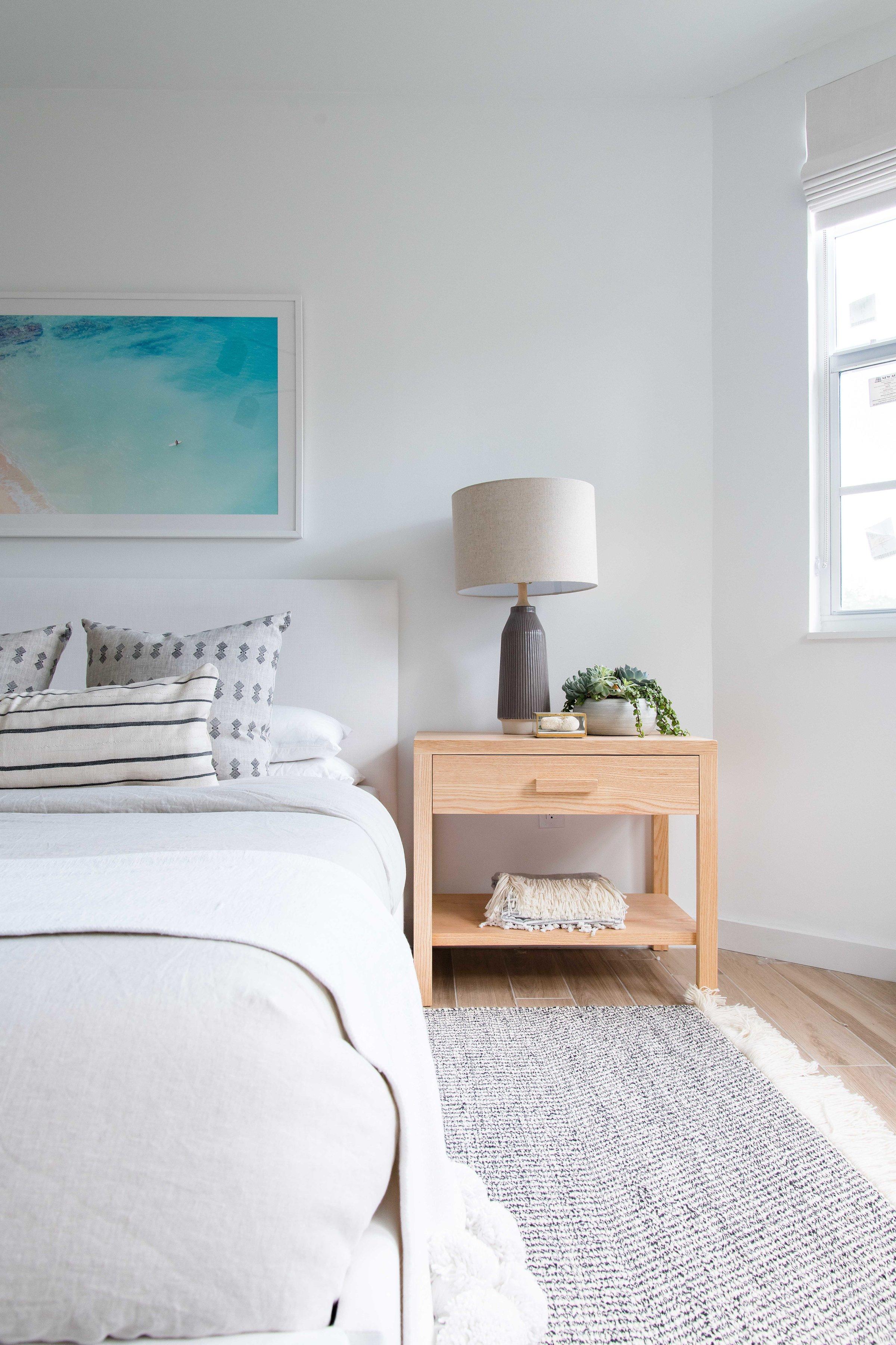 modern wooden nightstand in bright master bedroom - the habitat collective interior design - #projectpeachy