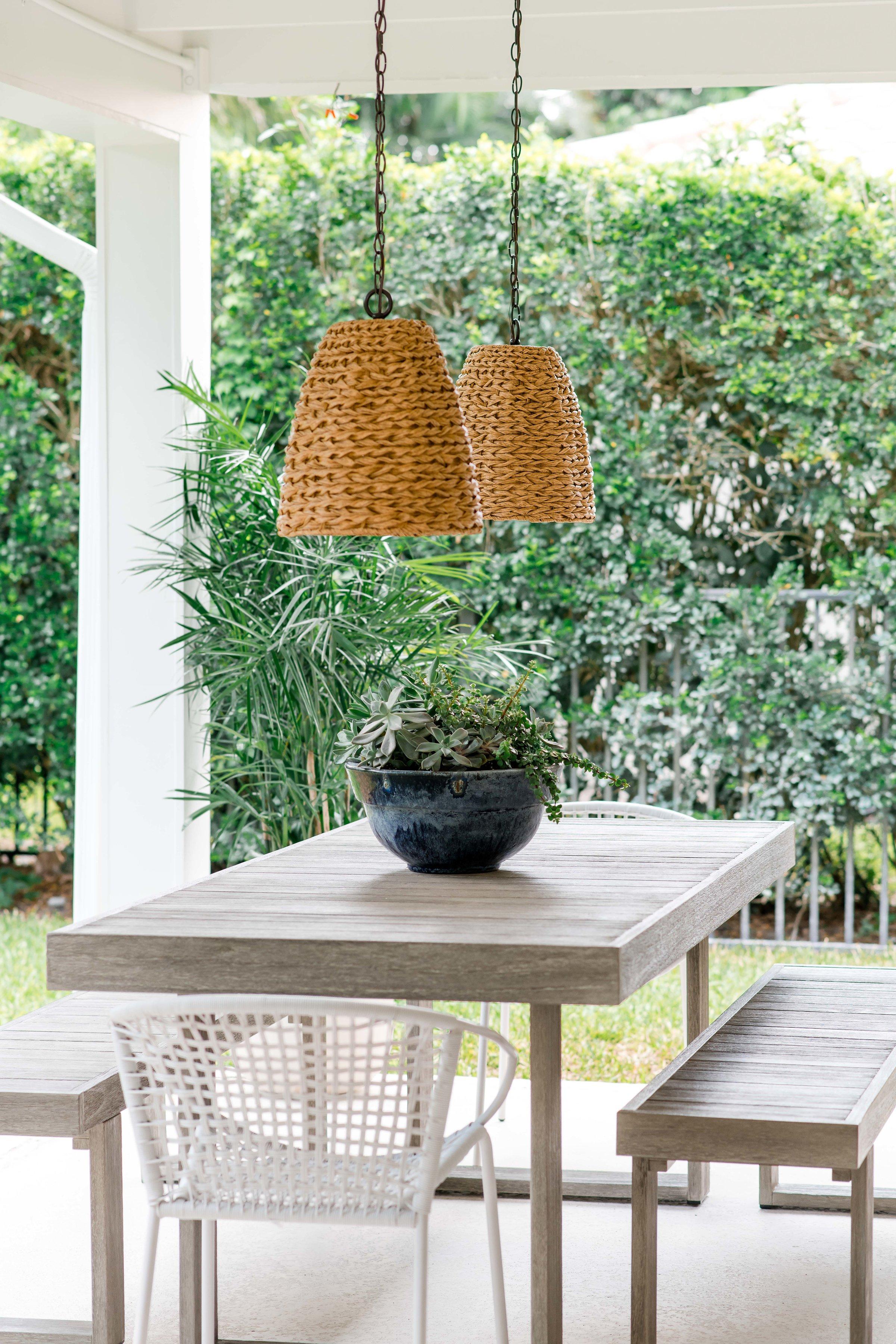 outdoor dining area, rattan pendants   - the habitat collective - project casinha linda
